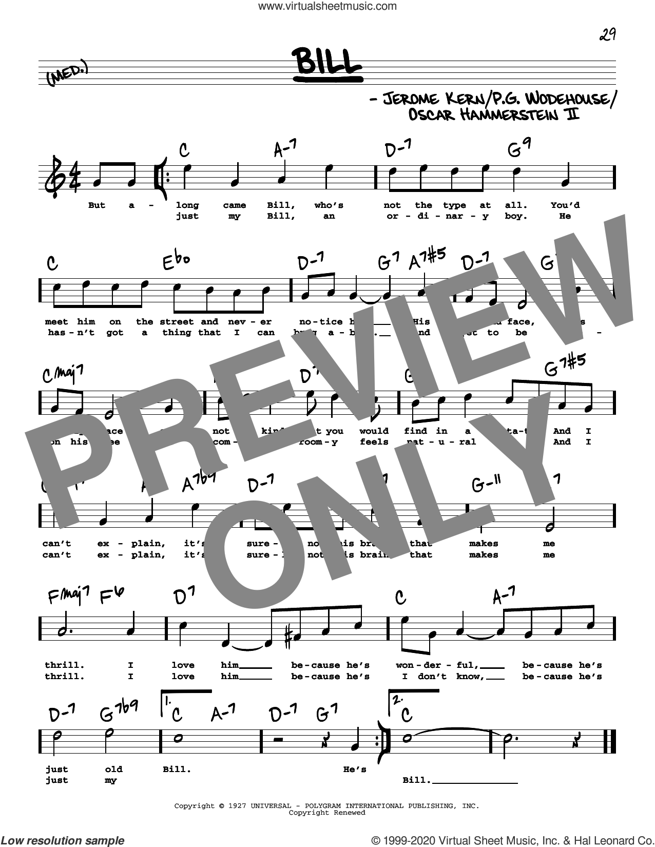 Bill (High Voice) (from Show Boat) sheet music for voice and other instruments (real book with lyrics) by Oscar II Hammerstein, Jerome Kern, Jerome Kern and Oscar Hammerstein II and P.G. Wodehouse, intermediate skill level