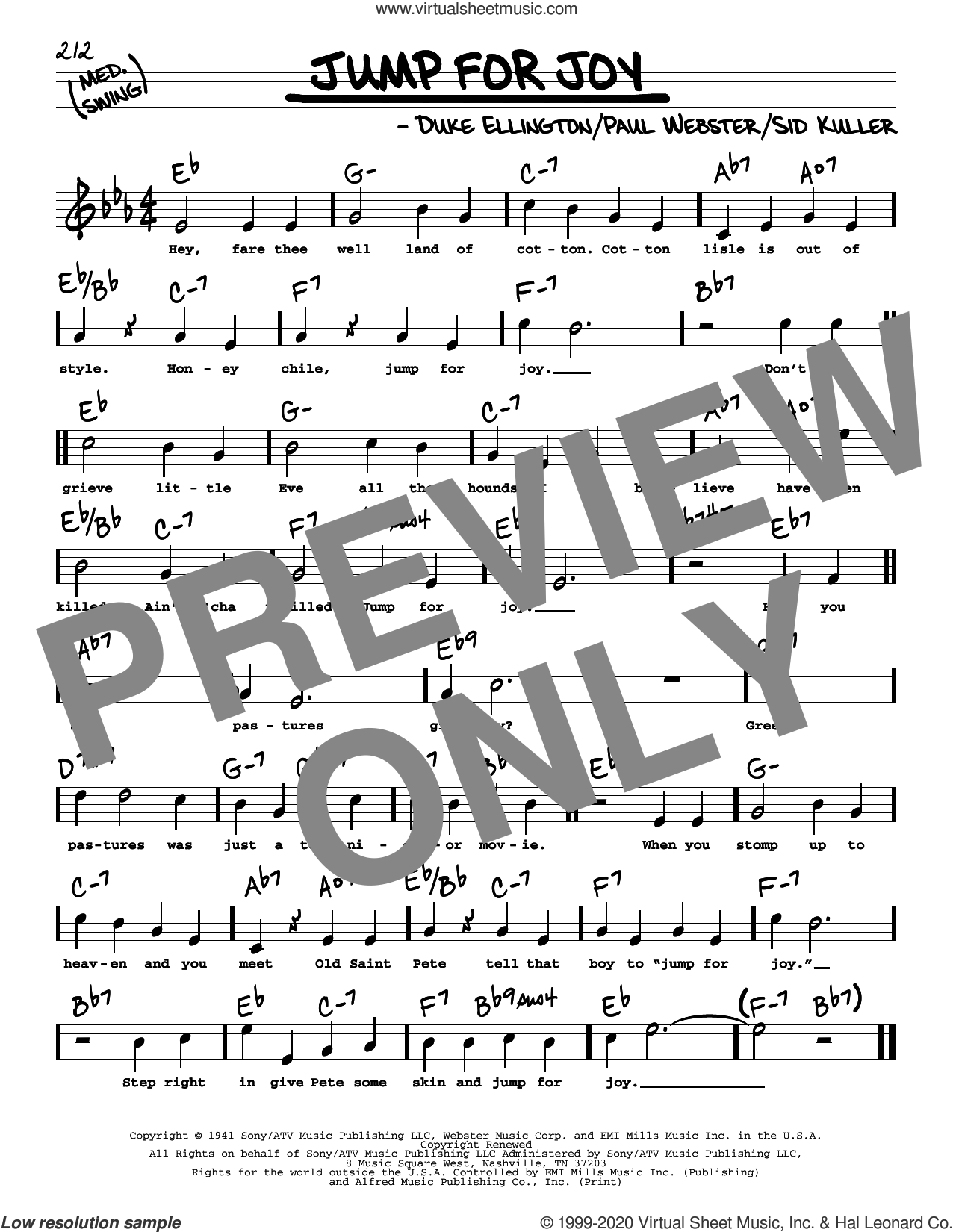 Jump For Joy (High Voice) sheet music for voice and other instruments (high voice) by Duke Ellington, Paul Francis Webster and Sid Kuller, intermediate skill level