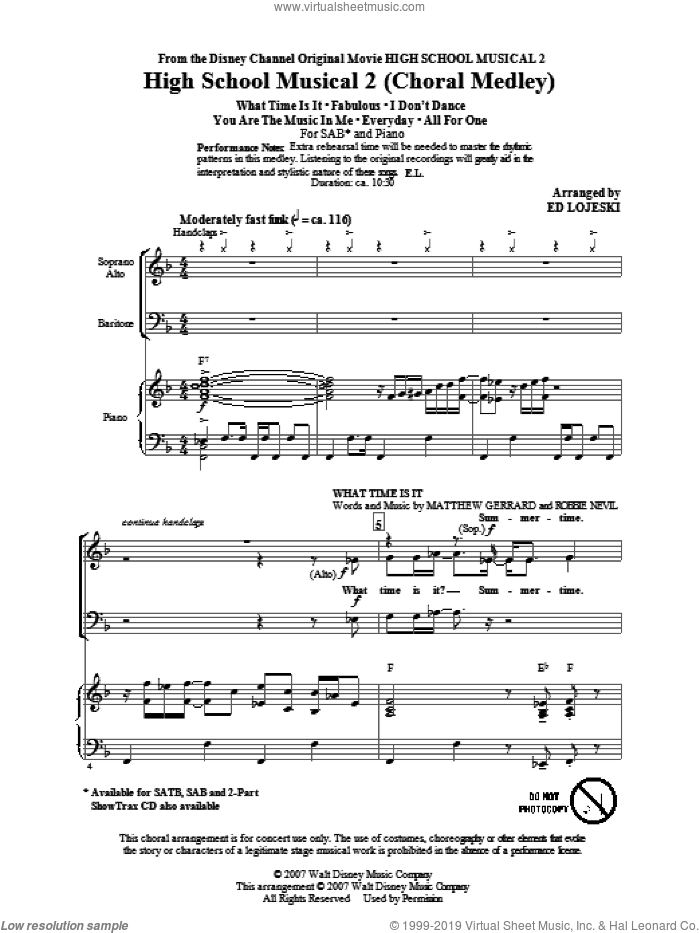 High School Musical 2 (Choral Medley) sheet music for choir (SAB: soprano, alto, bass) by Matthew Gerrard, Robbie Nevil, Ed Lojeski and High School Musical 2, intermediate. Score Image Preview.