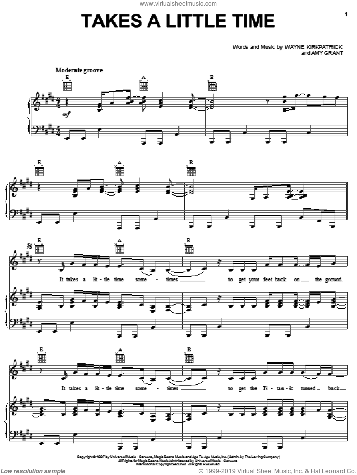Takes A Little Time sheet music for voice, piano or guitar by Amy Grant and Wayne Kirkpatrick, intermediate skill level