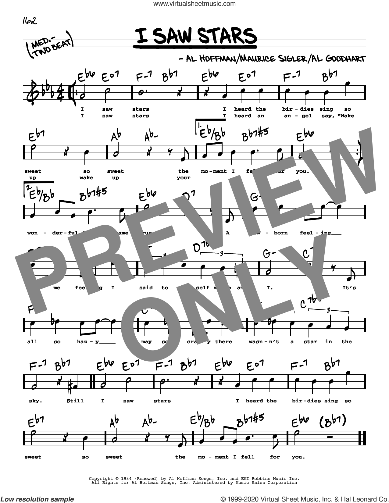 I Saw Stars (High Voice) sheet music for voice and other instruments (high voice) by Al Hoffman, Al Goodhart and Maurice Sigler, intermediate skill level
