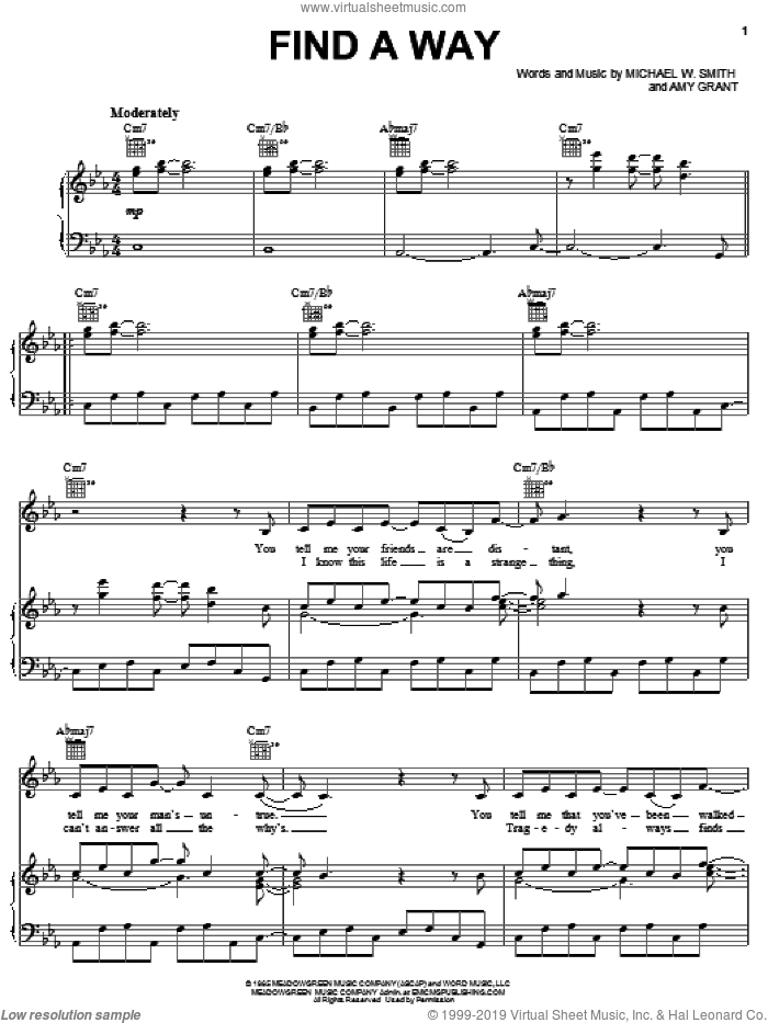 Find A Way sheet music for voice, piano or guitar by Amy Grant and Michael W. Smith, intermediate skill level