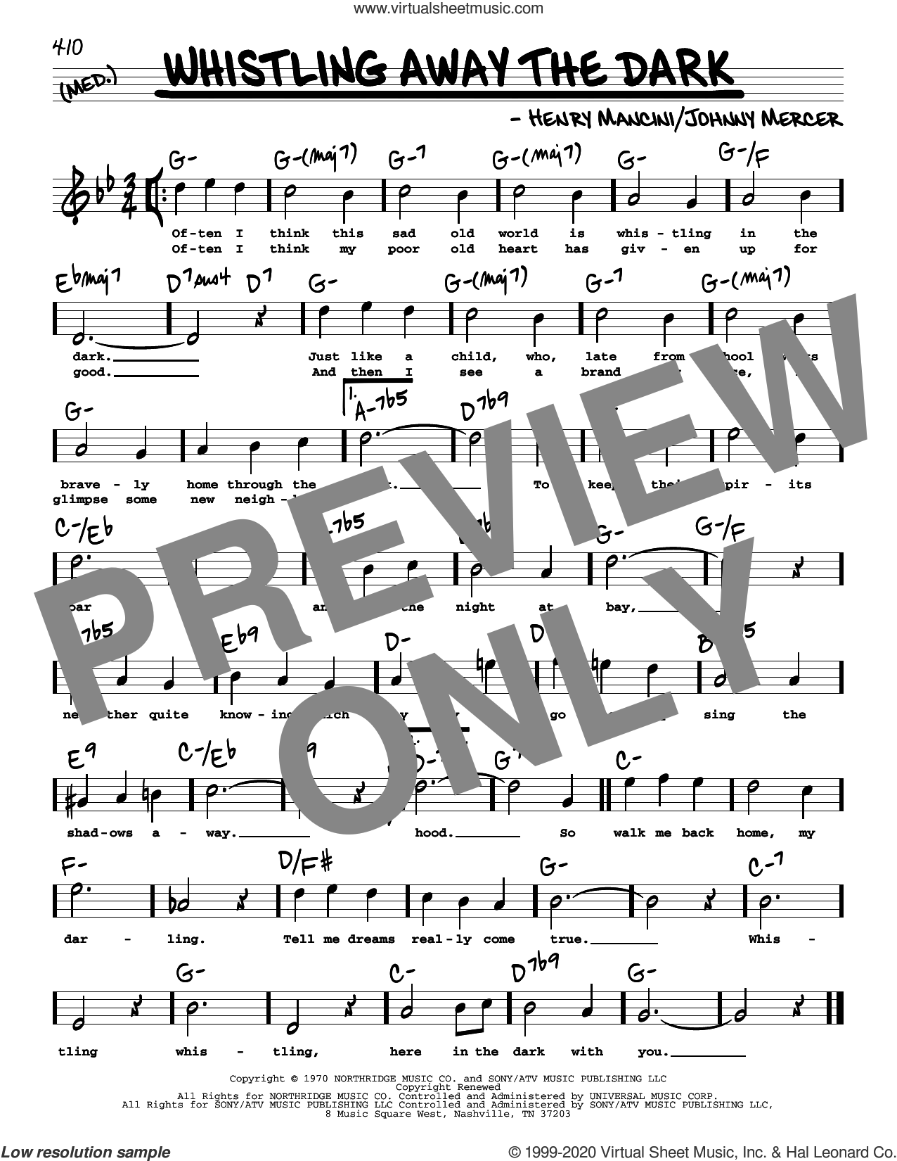 Whistling Away The Dark (High Voice) sheet music for voice and other instruments (high voice) by Johnny Mercer and Henry Mancini, intermediate skill level