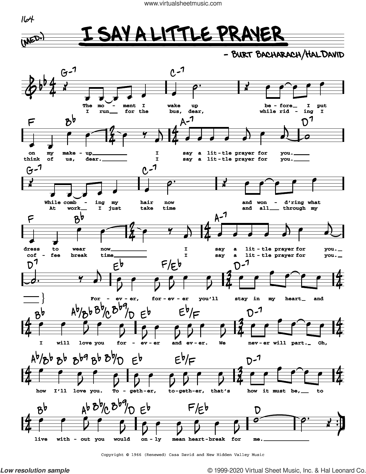 I Say A Little Prayer (High Voice) sheet music for voice and other instruments (high voice) by Dionne Warwick, Diana King, Burt Bacharach and Hal David, intermediate skill level