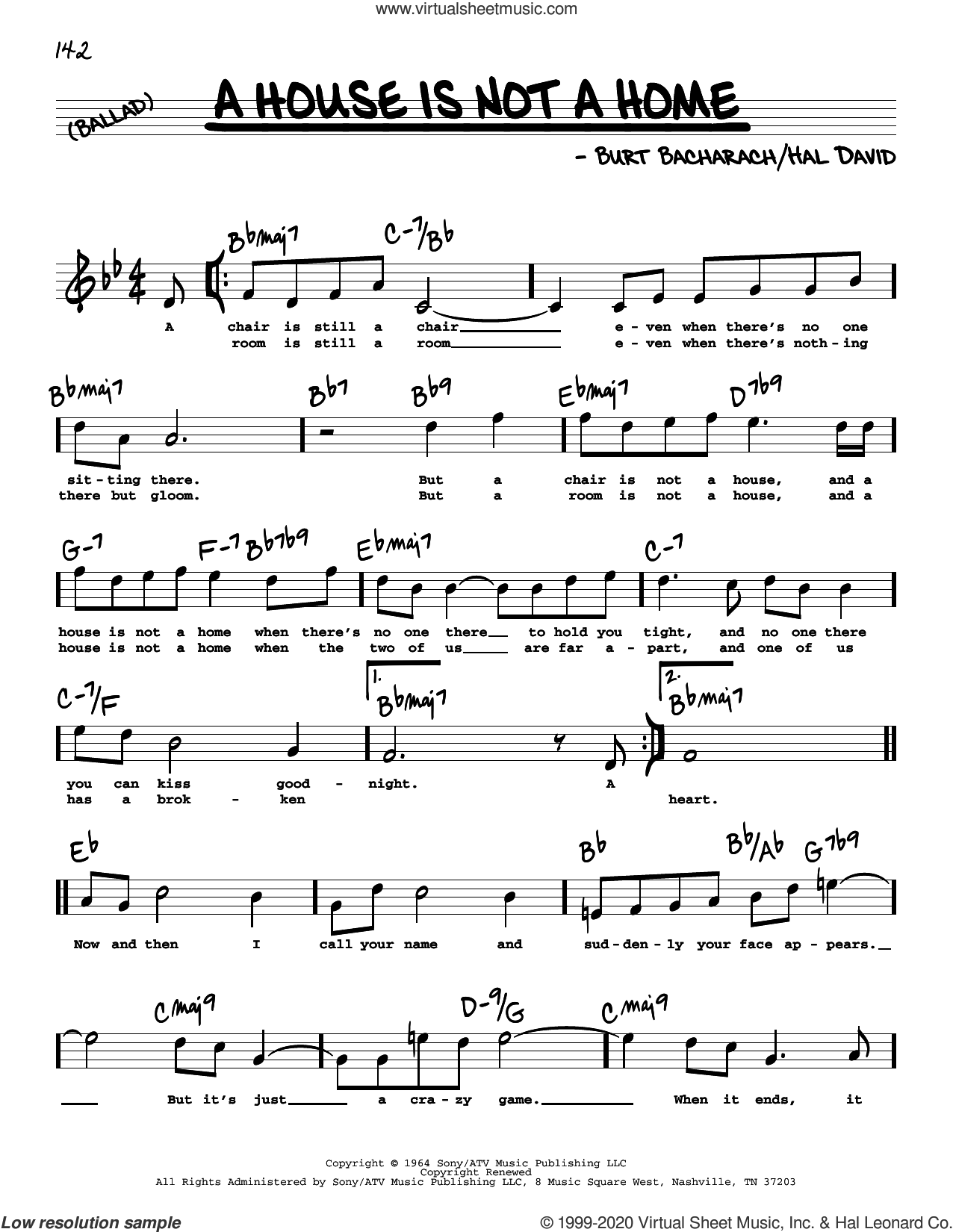 A House Is Not A Home (High Voice) sheet music for voice and other instruments (high voice) by Burt Bacharach, Bacharach & David and Hal David, intermediate skill level