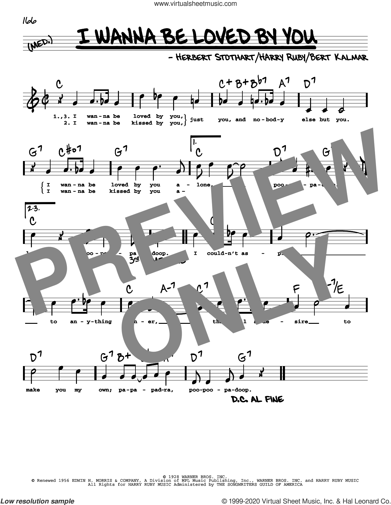 I Wanna Be Loved By You (High Voice) (from Good Boy) sheet music for voice and other instruments (high voice) by Bert Kalmar, Harry Ruby and Herbert Stothart, intermediate skill level