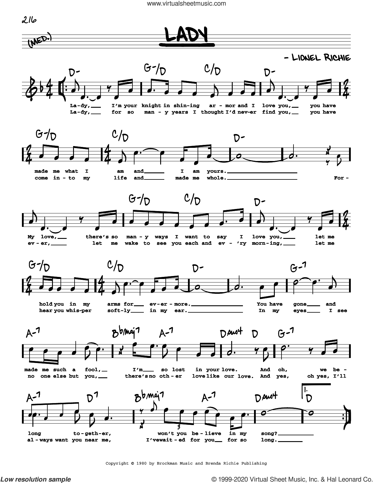 Lady (High Voice) sheet music for voice and other instruments (high voice) by Kenny Rogers and Lionel Richie, intermediate skill level