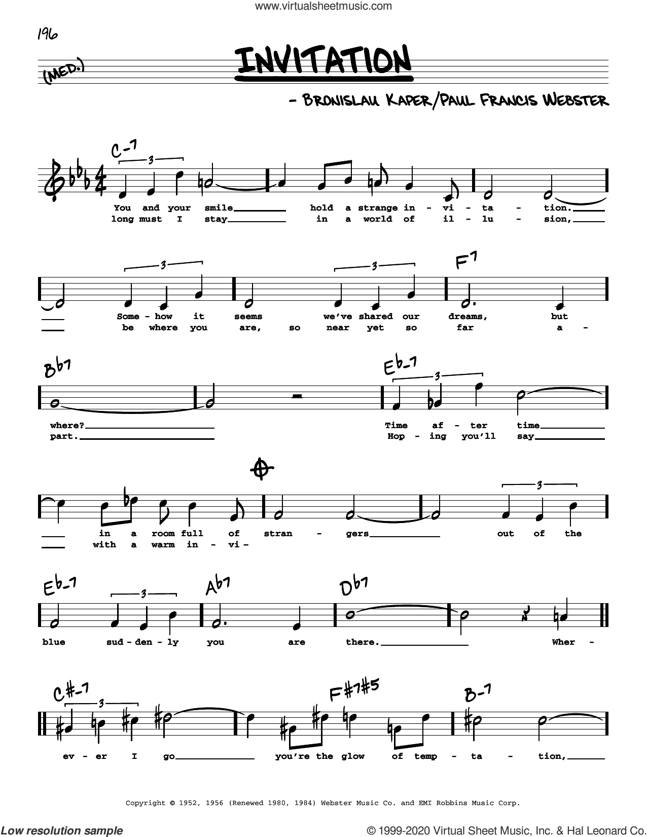 Invitation (High Voice) sheet music for voice and other instruments (high voice) by Paul Francis Webster and Bronislau Kaper, intermediate skill level