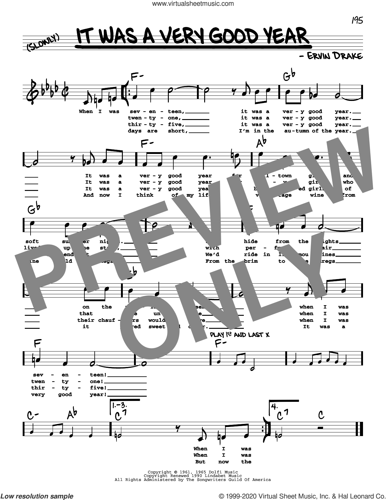 It Was A Very Good Year (High Voice) sheet music for voice and other instruments (high voice) by Ervin Drake, intermediate skill level
