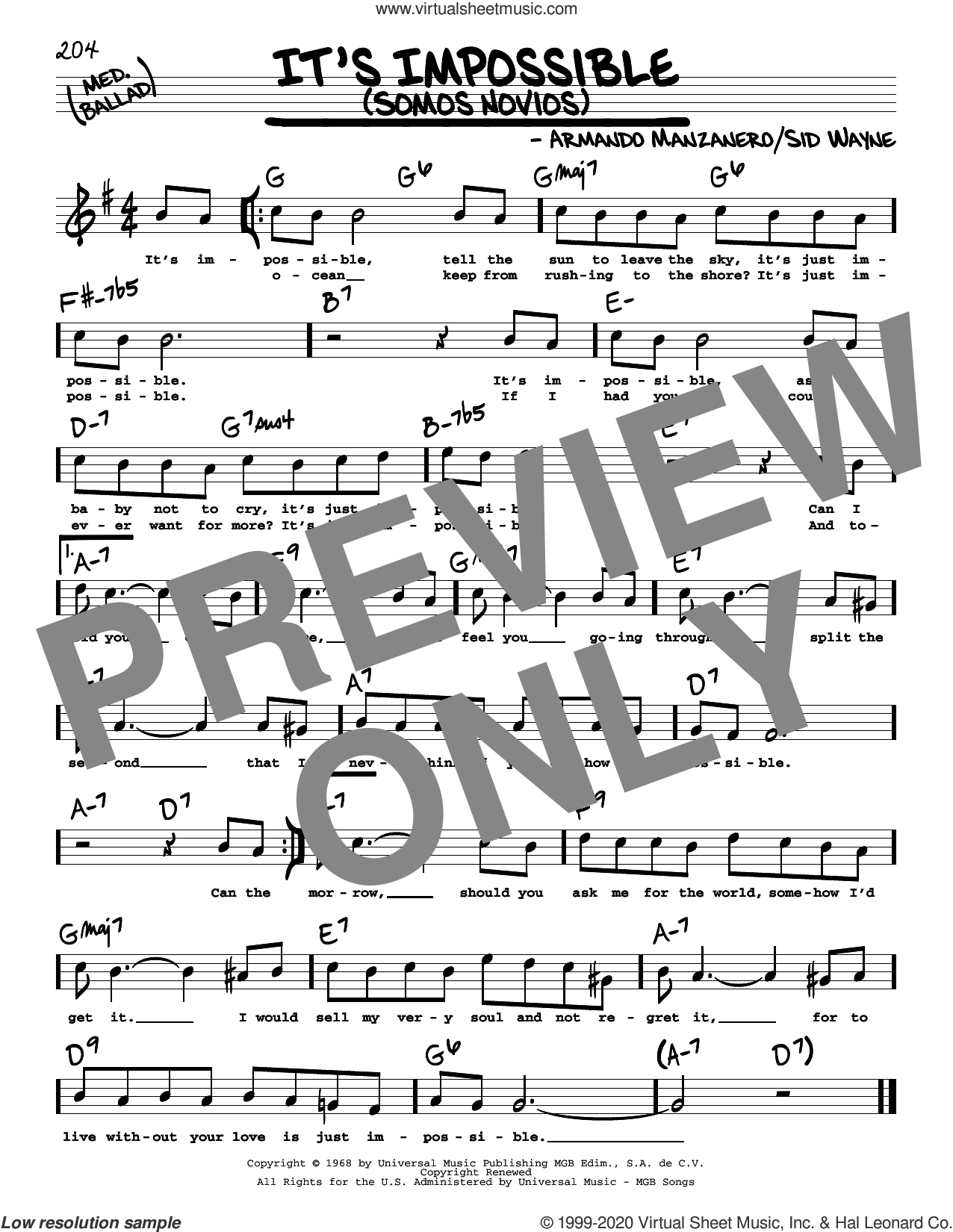 It's Impossible (Somos Novios) (High Voice) sheet music for voice and other instruments (high voice) by Elvis Presley, Perry Como, Armando Manzanero and Sid Wayne, intermediate skill level