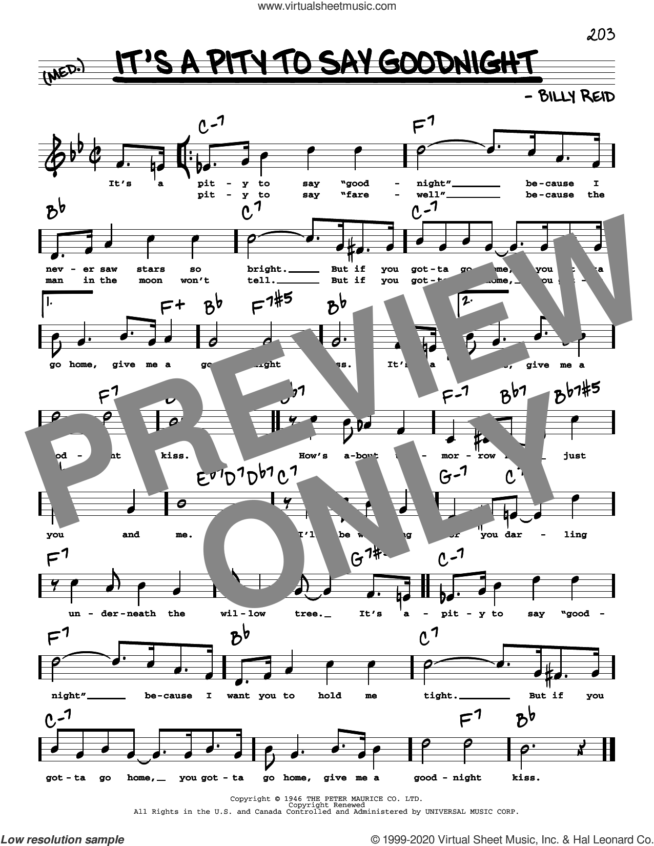 It's A Pity To Say Goodnight (High Voice) sheet music for voice and other instruments (high voice) by Ella Fitzgerald and Billy Reid, intermediate skill level