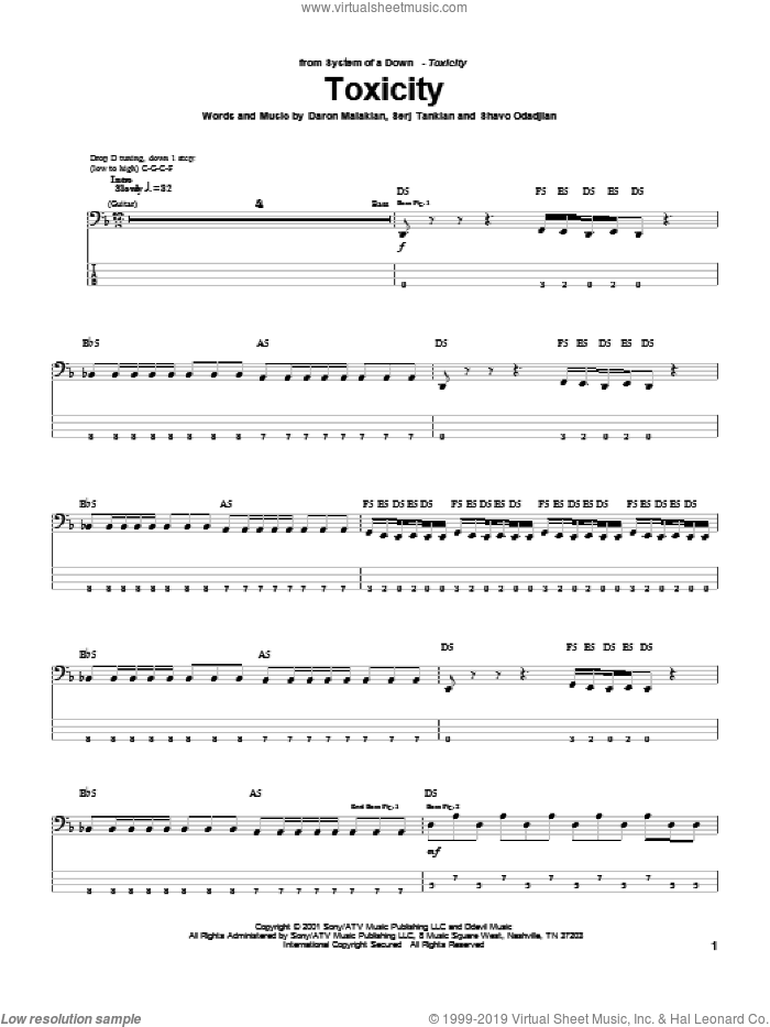 Toxicity sheet music for bass (tablature) (bass guitar) by System Of A Down, Daron Malakian, Serj Tankian and Shavo Odadjian, intermediate skill level