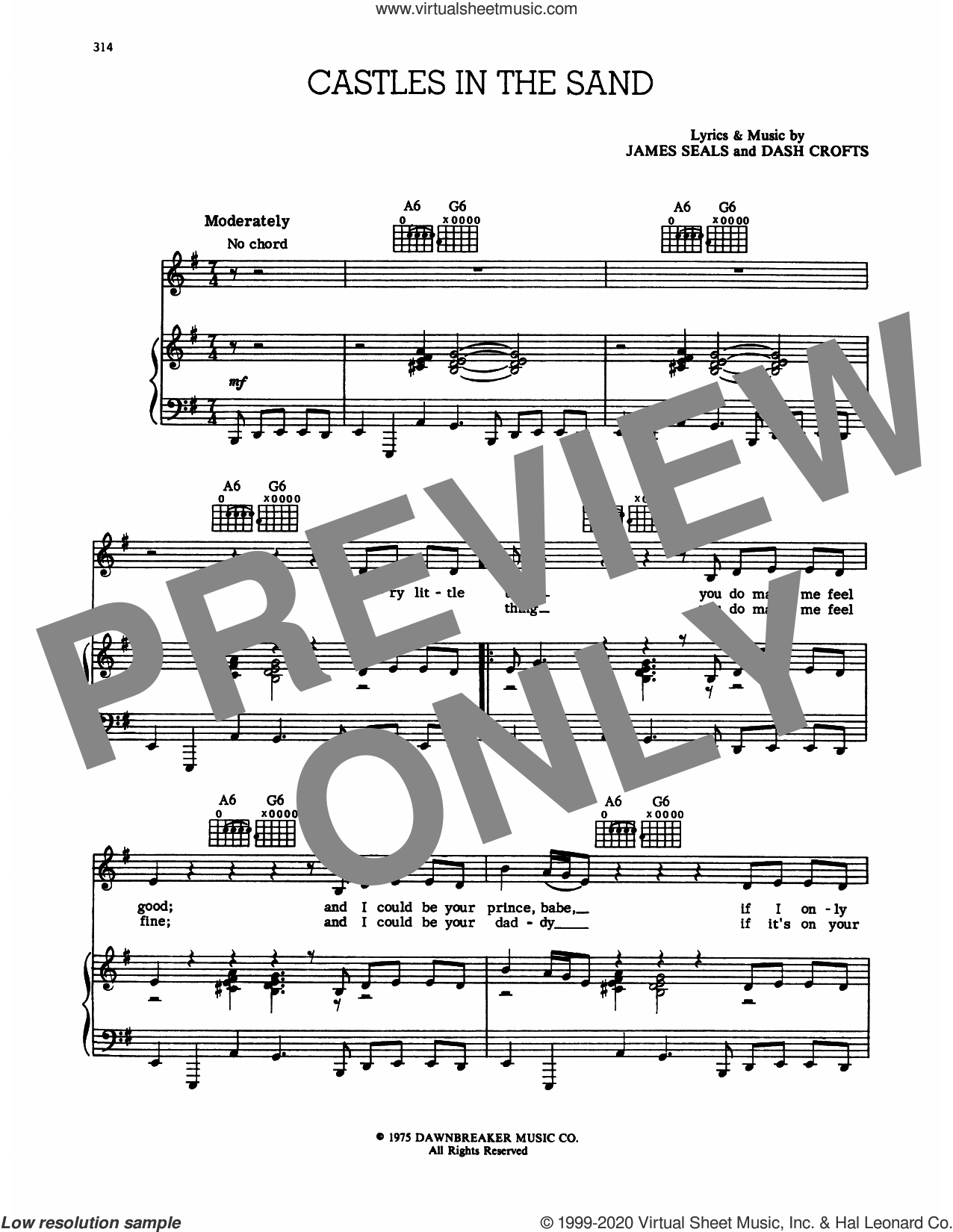 Castles In The Sand sheet music for voice and piano by Seals and Crofts, Dash Crofts and James Seals, intermediate skill level