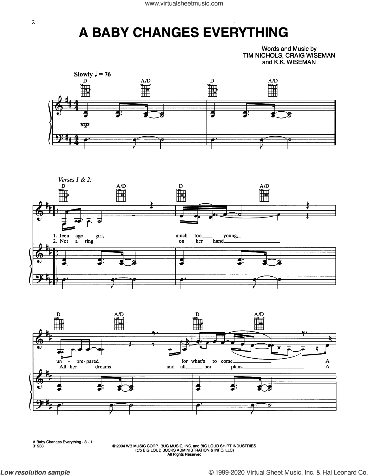 A Baby Changes Everything sheet music for voice and piano by Faith Hill, Craig Wiseman, Kimberly Wiseman and Tim Nichols, intermediate skill level