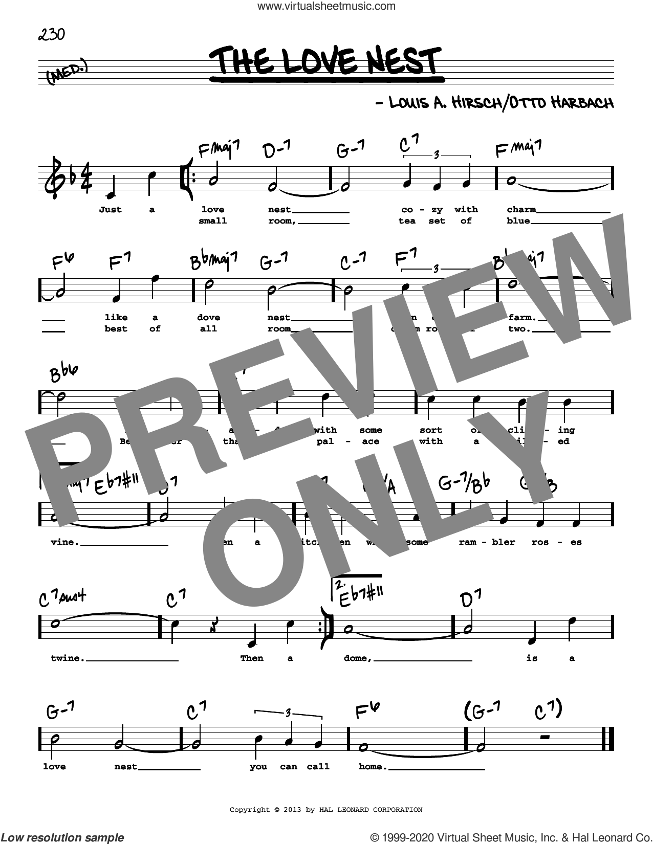 The Love Nest (High Voice) sheet music for voice and other instruments (high voice) by Otto Harbach and Louis A. Hirsch, intermediate skill level