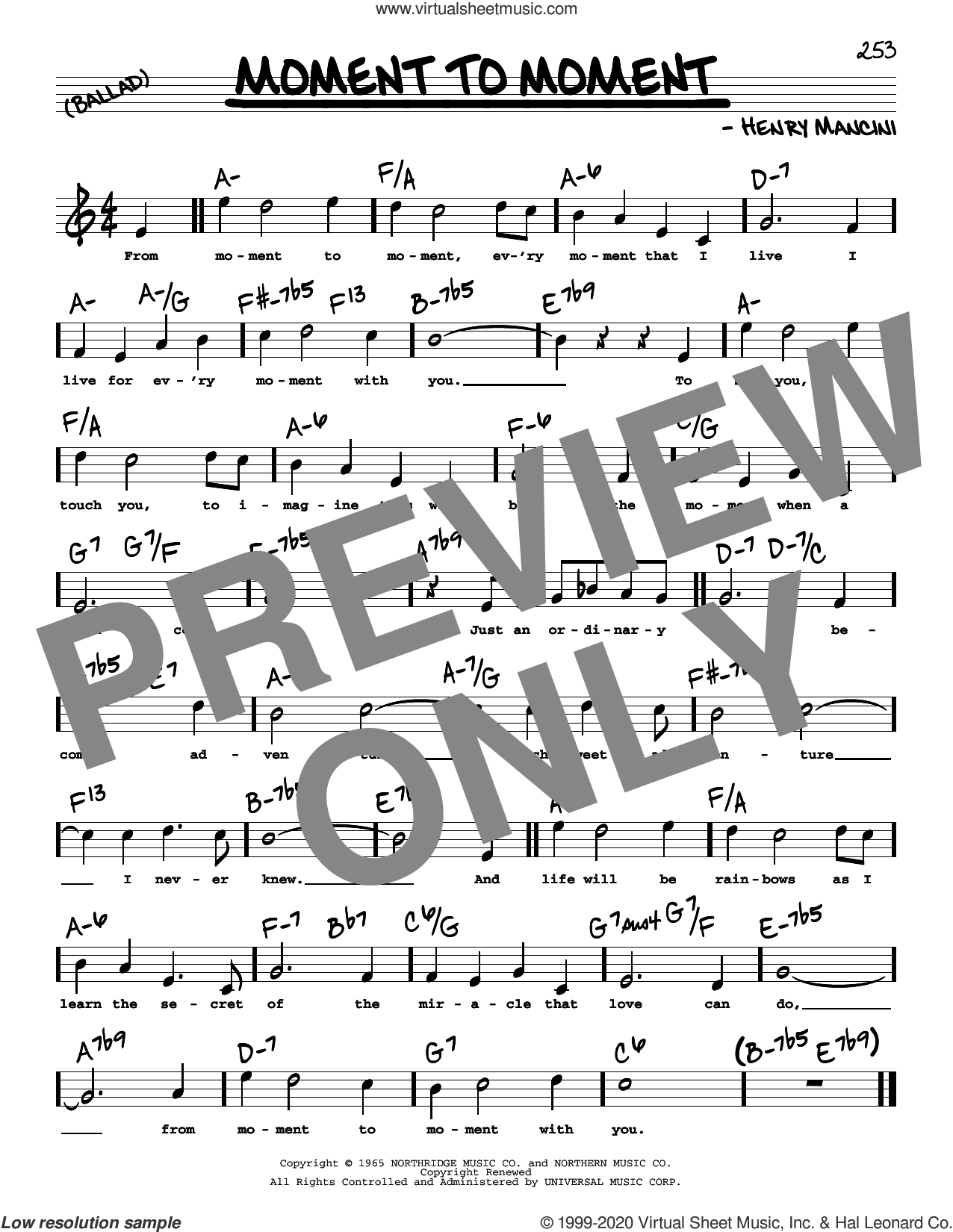 Moment To Moment (High Voice) sheet music for voice and other instruments (high voice) by Henry Mancini, intermediate skill level