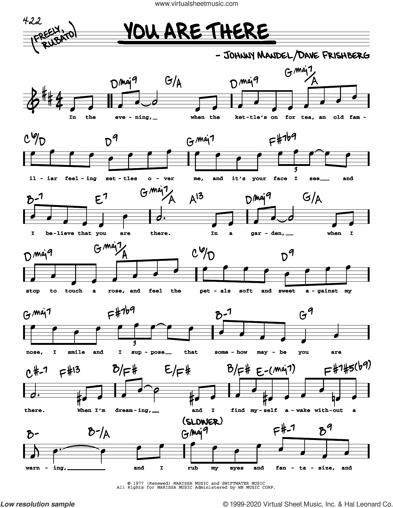 You Are There (High Voice) sheet music for voice and other instruments (high voice) by Michael Feinstein, Dave Frishberg and Johnny Mandel, intermediate skill level