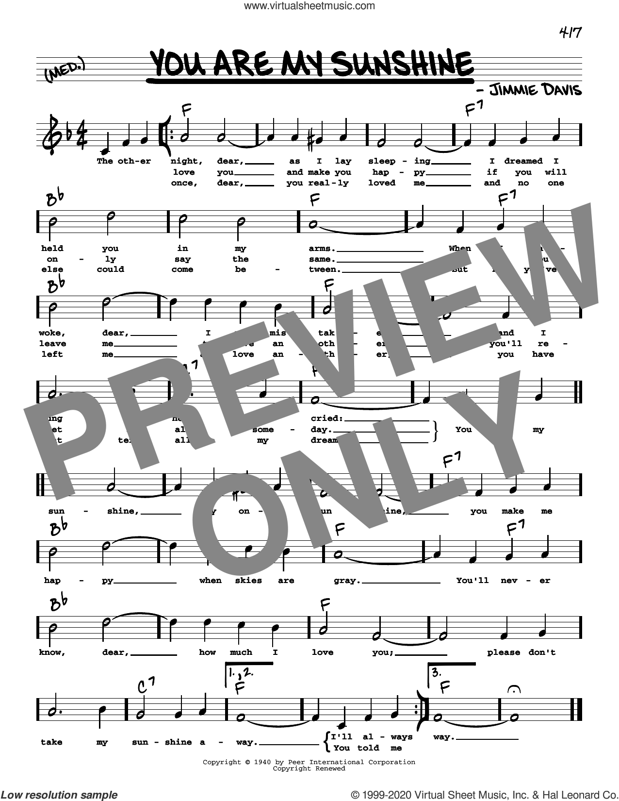 You Are My Sunshine (High Voice) sheet music for voice and other instruments (high voice) by Ray Charles, Duane Eddy and Jimmie Davis, intermediate skill level