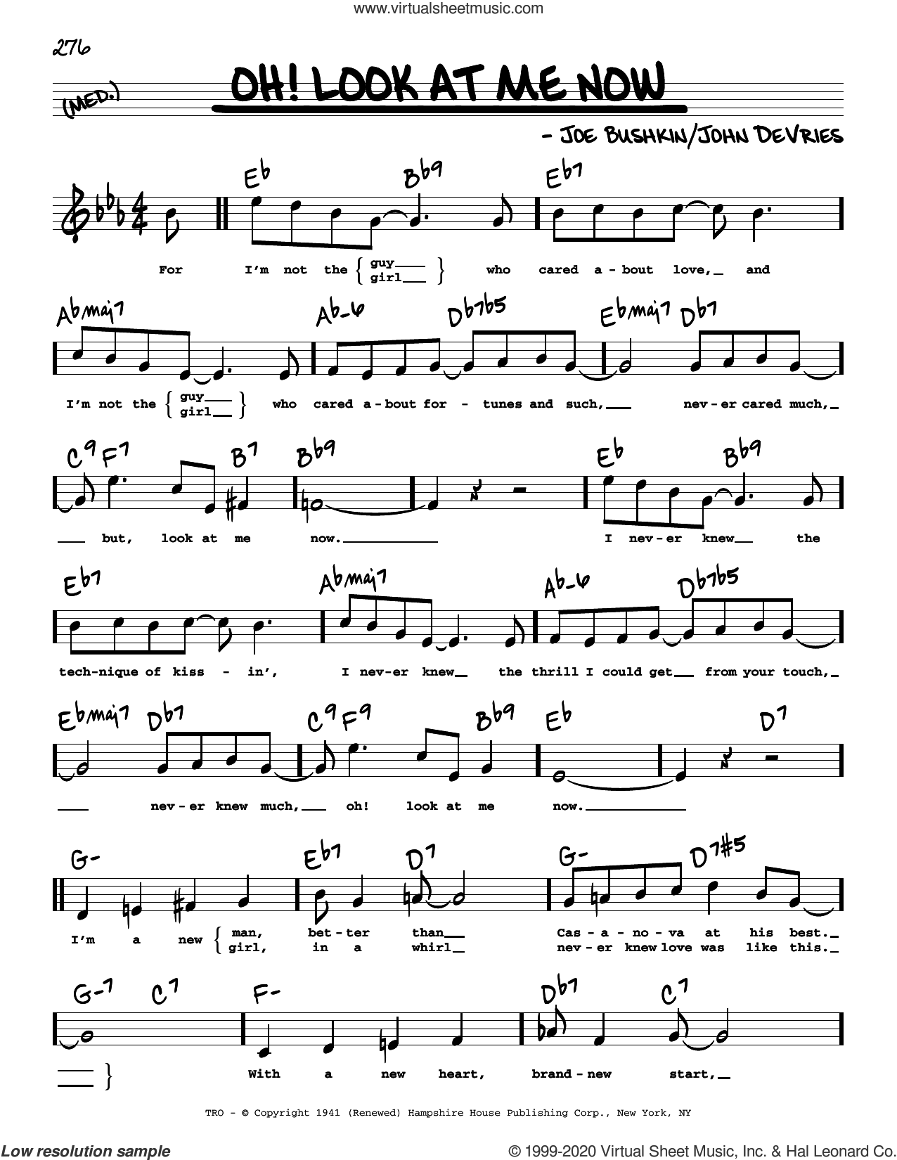 Oh! Look At Me Now (High Voice) sheet music for voice and other instruments (high voice) by John De Vries and Joe Bushkin, intermediate skill level