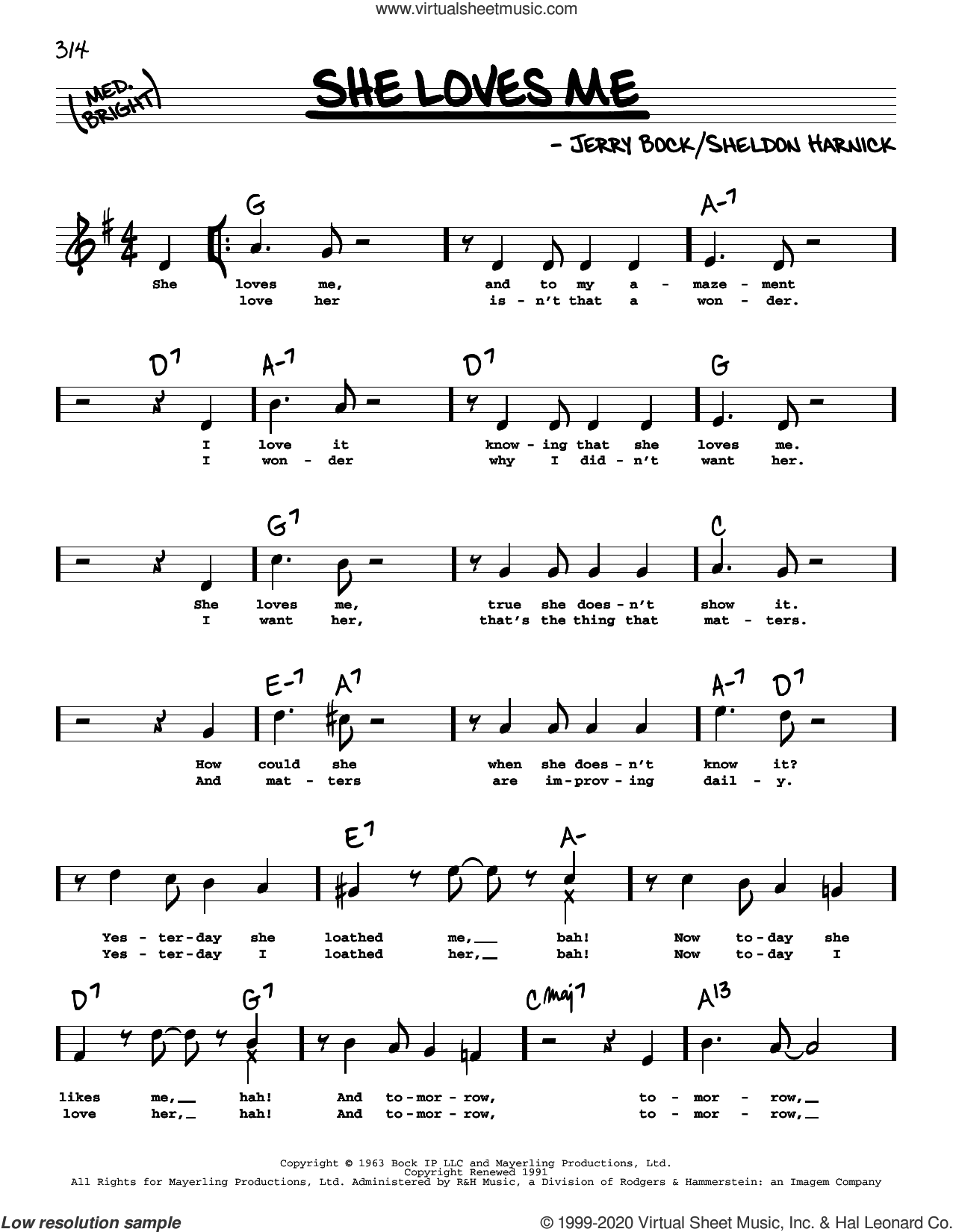 She Loves Me (High Voice) sheet music for voice and other instruments (high voice) by Jerry Bock, Sheldon Harnick and Sheldon Harnick and Jerry Bock, intermediate skill level