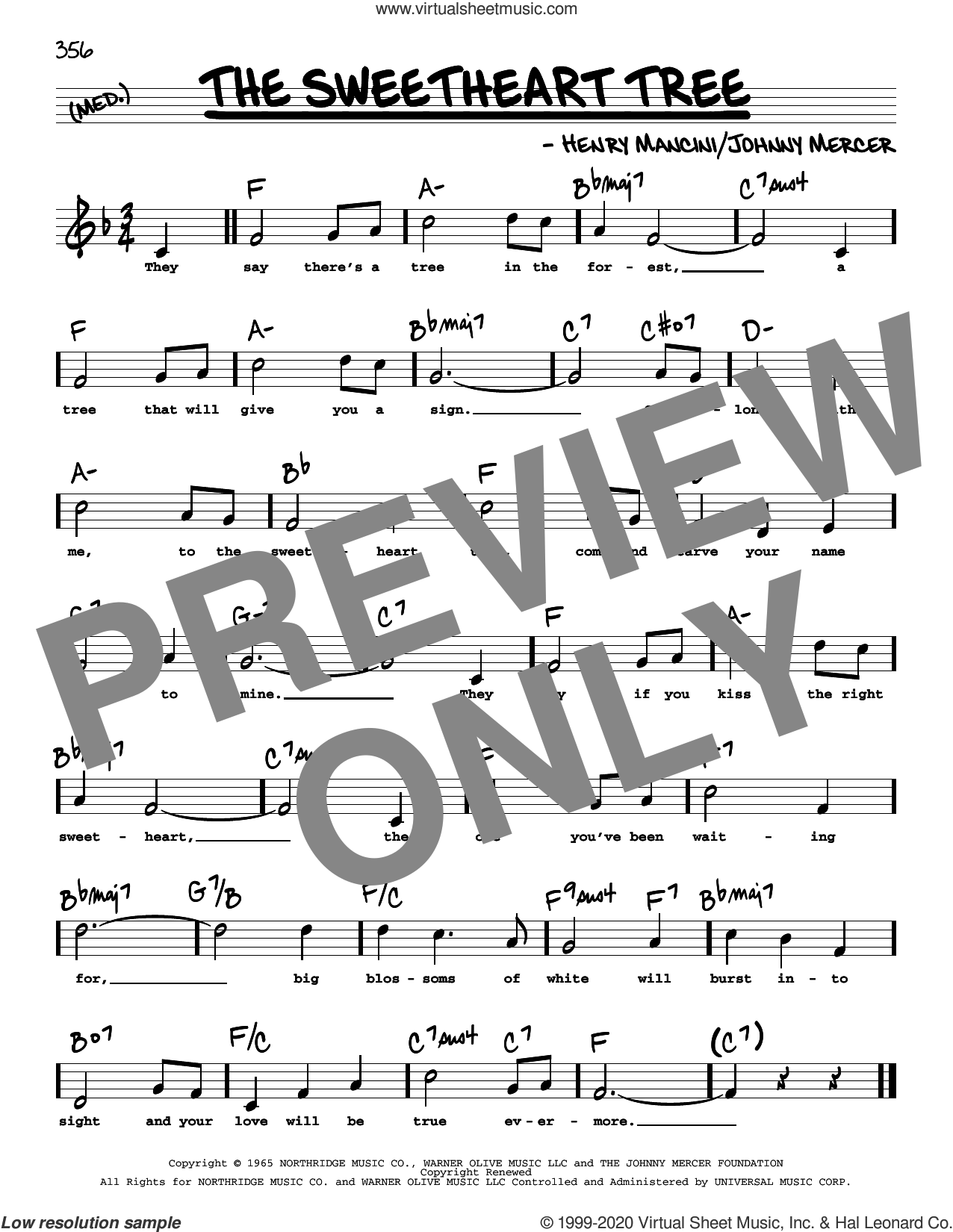 The Sweetheart Tree (High Voice) sheet music for voice and other instruments (high voice) by Johnny Mercer and Henry Mancini, intermediate skill level