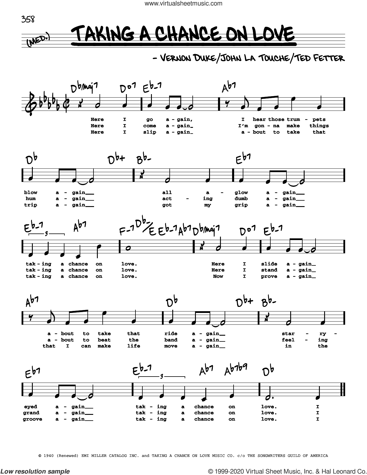 Taking A Chance On Love (High Voice) sheet music for voice and other instruments (high voice) by Vernon Duke, John Latouche and Ted Fetter, intermediate skill level