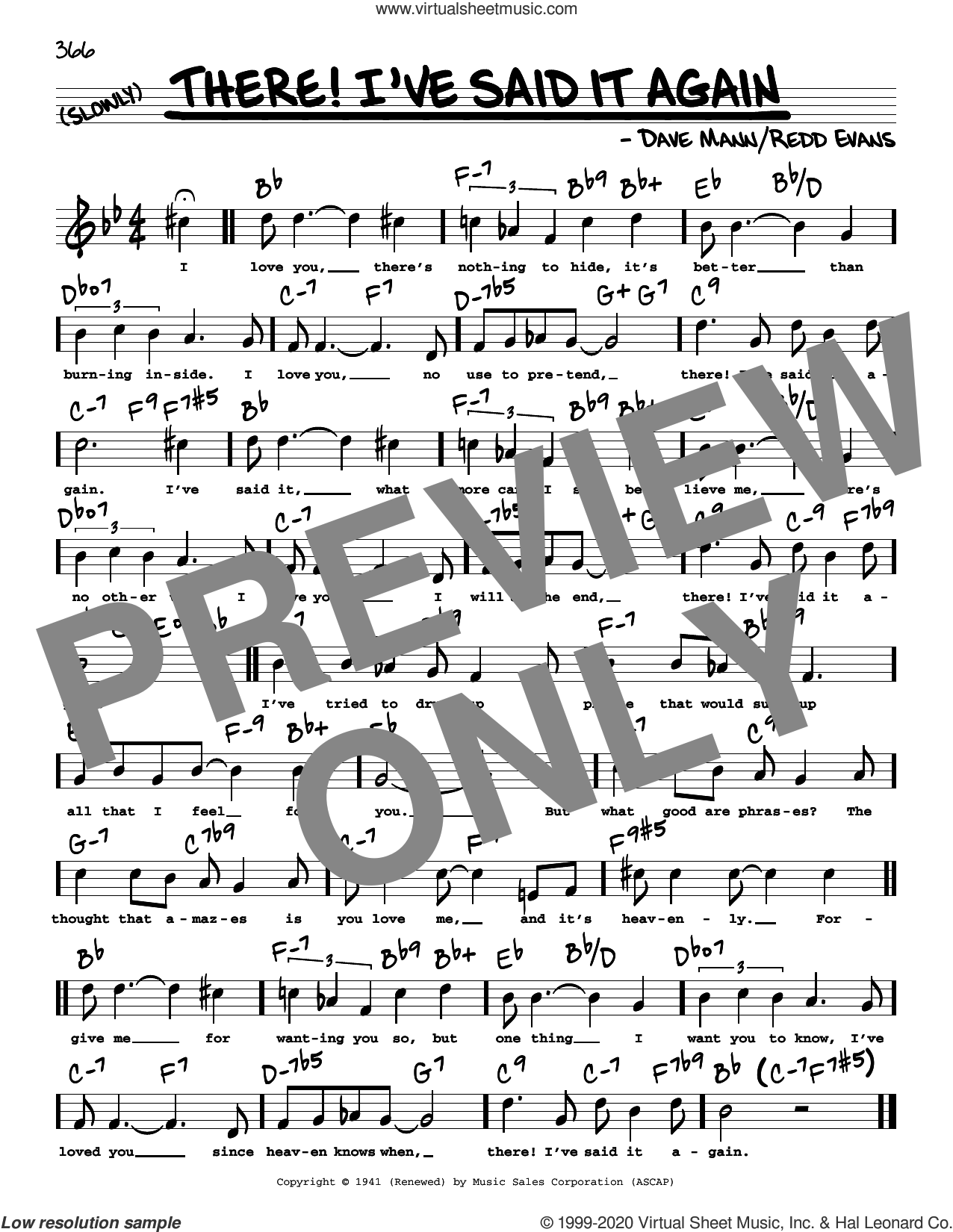 There! I've Said It Again (High Voice) sheet music for voice and other instruments (high voice) by Redd Evans and Dave Mann, intermediate skill level