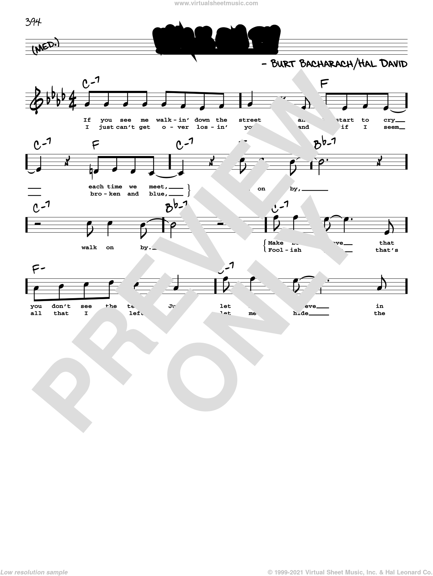 Walk On By (High Voice) sheet music for voice and other instruments (high voice) by Dionne Warwick, Burt Bacharach and Hal David, intermediate skill level