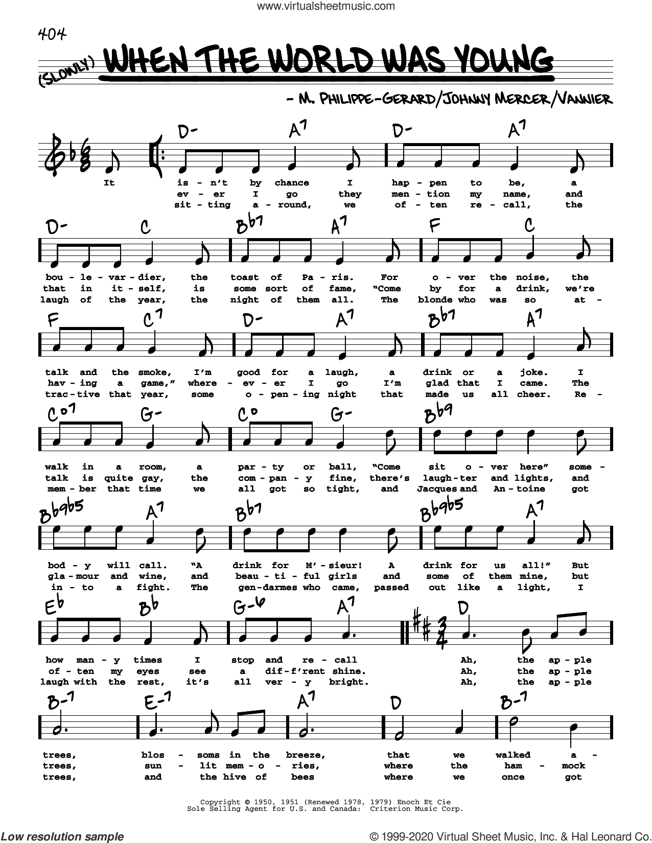 When The World Was Young (High Voice) sheet music for voice and other instruments (high voice) by Johnny Mercer, Angele Vannier and M. Philippe-Gerard, intermediate skill level