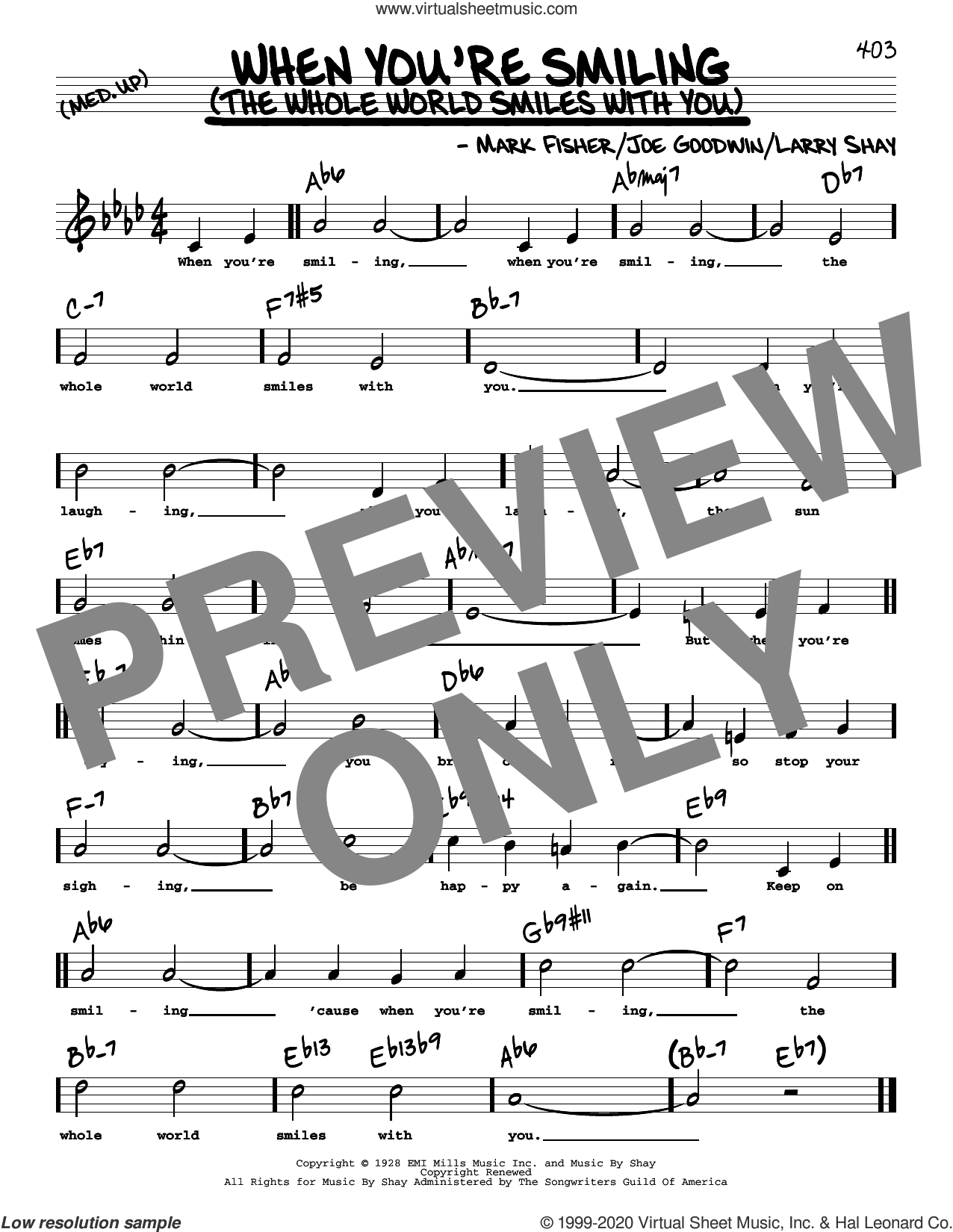 When You're Smiling (The Whole World Smiles With You) (High Voice) sheet music for voice and other instruments (high voice) by Joe Goodwin, Larry Shay and Mark Fisher, intermediate skill level