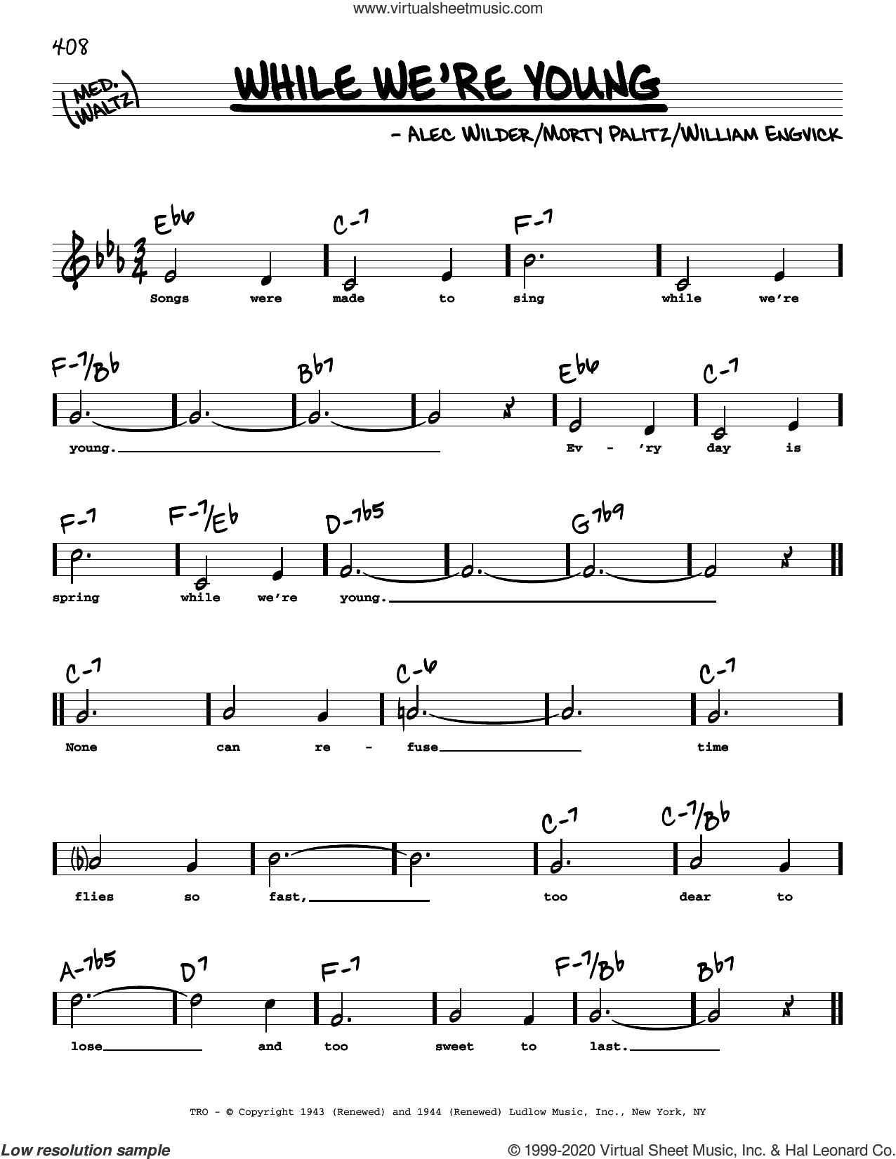 While We're Young (High Voice) sheet music for voice and other instruments (high voice) by William Engvick, Alec Wilder and Morty Palitz, intermediate skill level