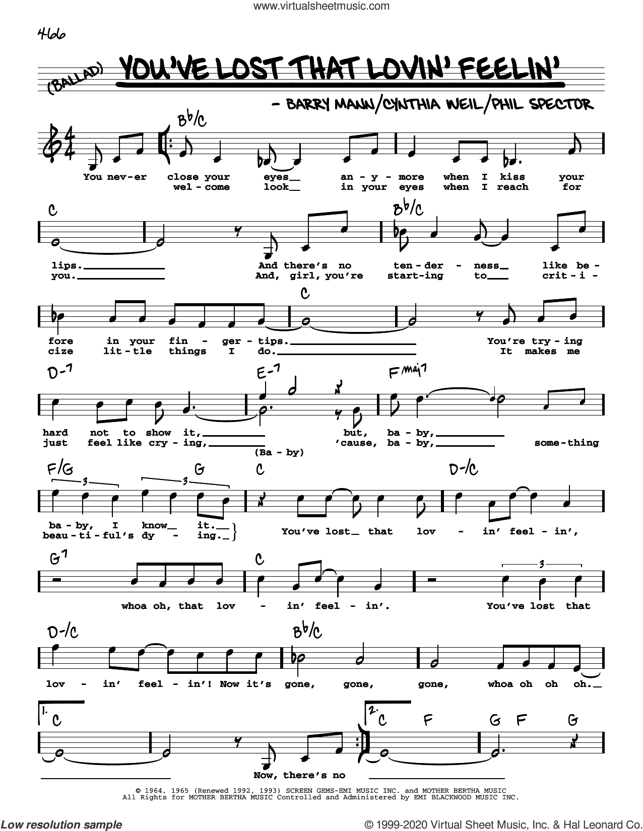 You've Lost That Lovin' Feelin' (High Voice) sheet music for voice and other instruments (high voice) by The Righteous Brothers, Elvis Presley, Barry Mann, Cynthia Weil and Phil Spector, intermediate skill level