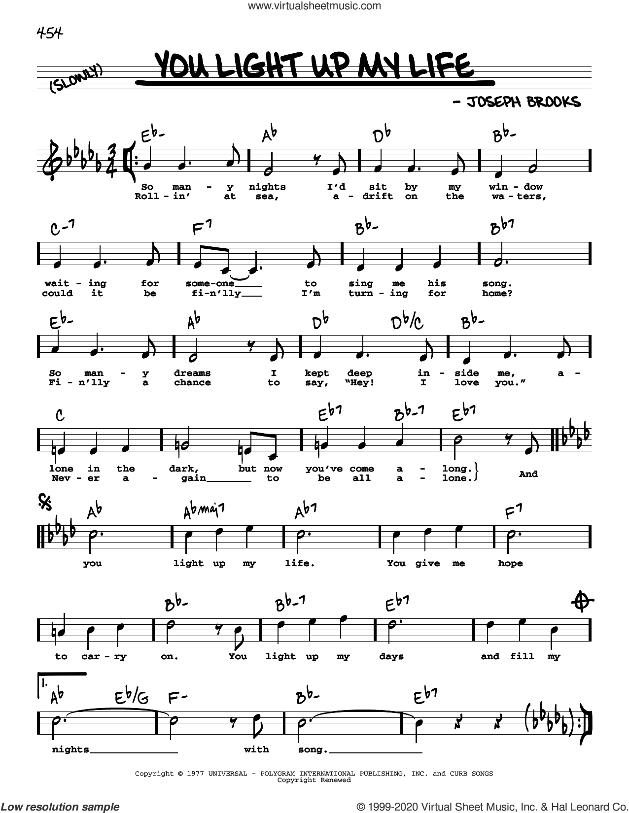 You Light Up My Life (High Voice) sheet music for voice and other instruments (high voice) by Debby Boone and Joseph Brooks, intermediate skill level