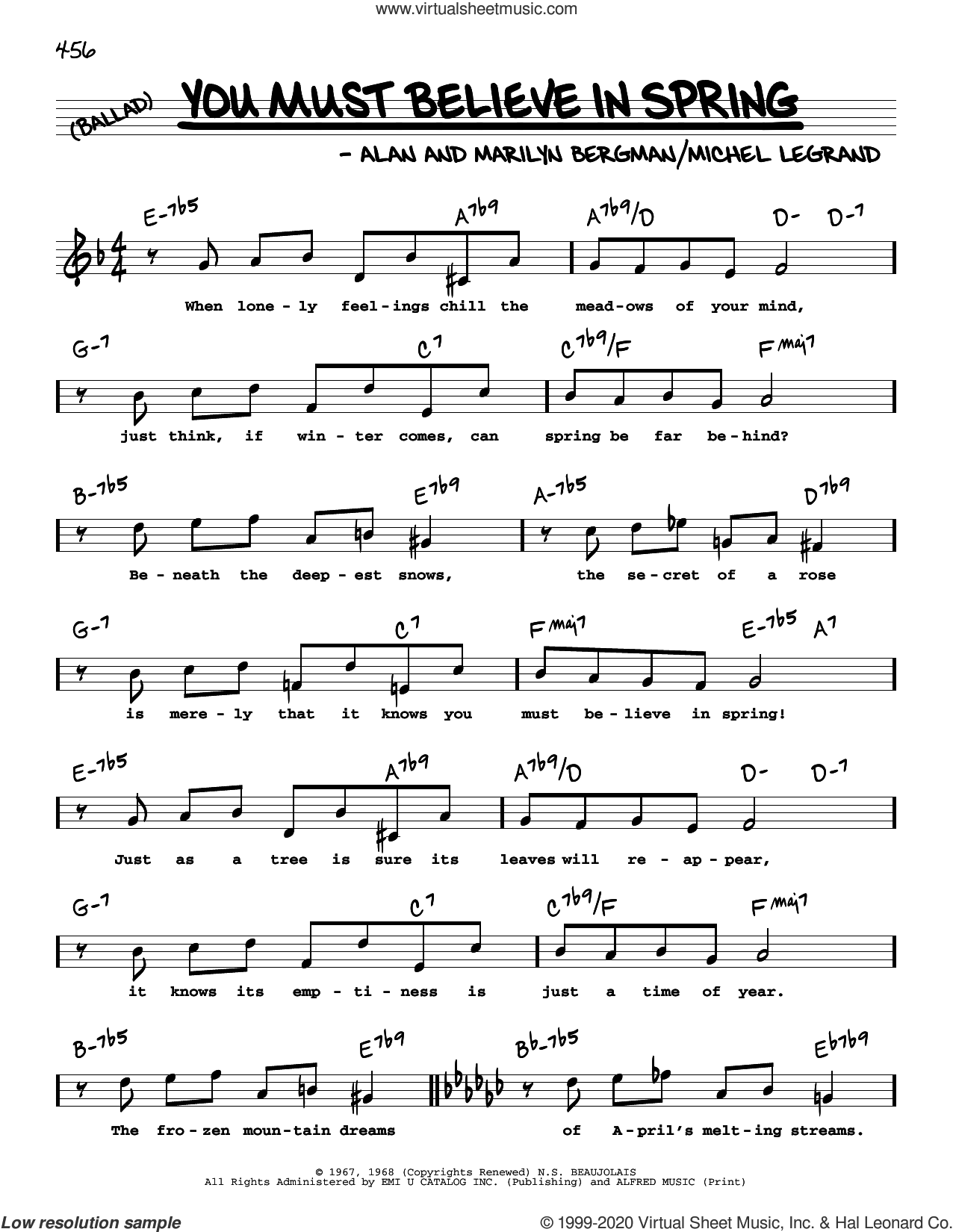 You Must Believe In Spring (High Voice) sheet music for voice and other instruments (high voice) by Alan Bergman, Marilyn Bergman and Michel LeGrand, intermediate skill level
