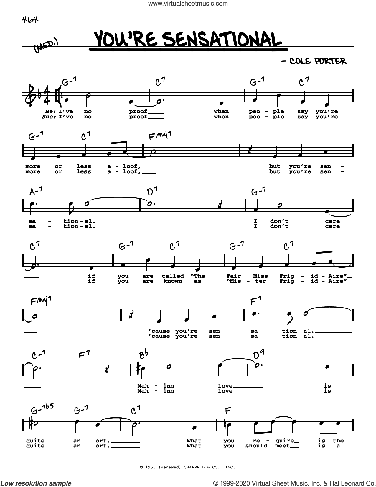 You're Sensational (High Voice) (from High Society) sheet music for voice and other instruments (high voice) by Cole Porter, intermediate skill level
