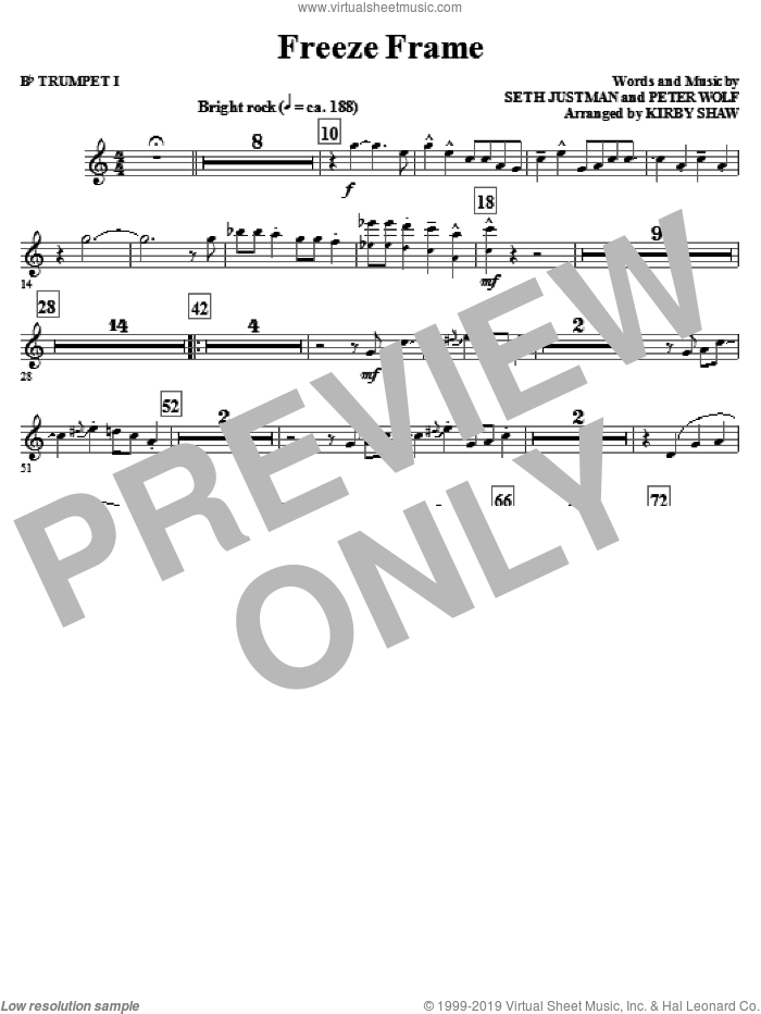 Freeze Frame (complete set of parts) sheet music for orchestra/band by Kirby Shaw, Peter Wolf and J. Geils Band, intermediate. Score Image Preview.