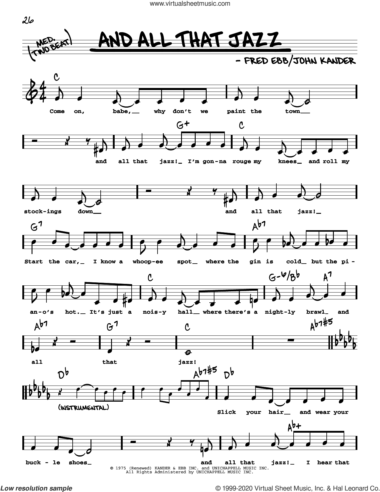 And All That Jazz (from Chicago) (High Voice) sheet music for voice and other instruments (high voice) by John Kander, Fred Ebb and Kander & Ebb, intermediate skill level