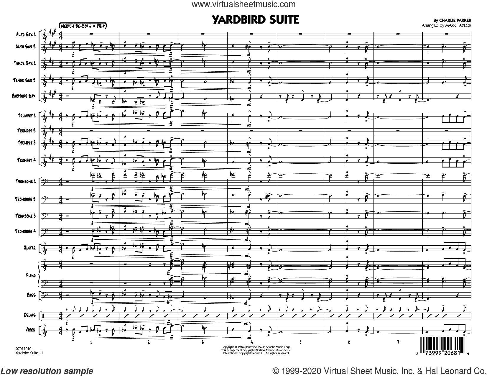 Yardbird Suite (arr. Mark Taylor) (COMPLETE) sheet music for jazz band by Charlie Parker and Mark Taylor, intermediate skill level