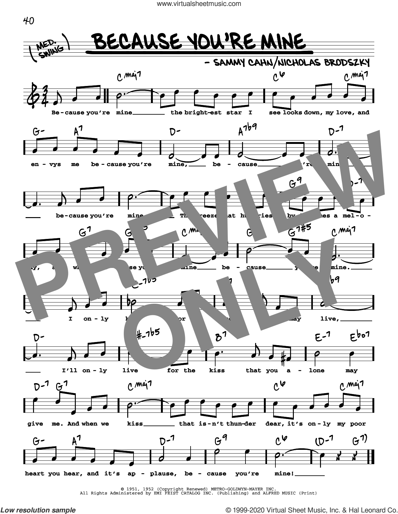 Because You're Mine (High Voice) sheet music for voice and other instruments (high voice) by Sammy Cahn, The Three Tenors and Nicholas Brodszky, intermediate skill level