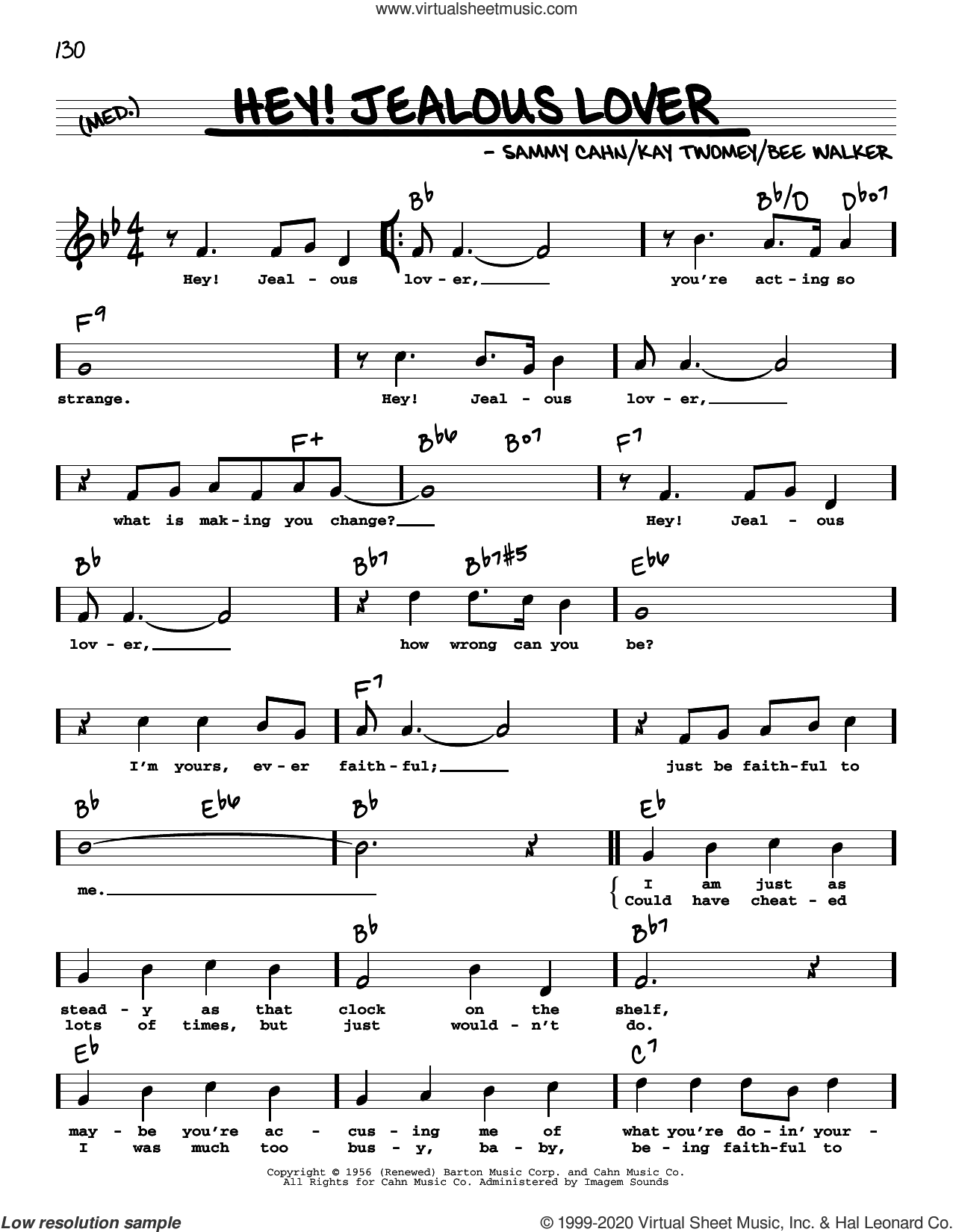 Hey! Jealous Lover (High Voice) sheet music for voice and other instruments (high voice) by Sammy Cahn, Bee Walker and Kay Twomey, intermediate skill level