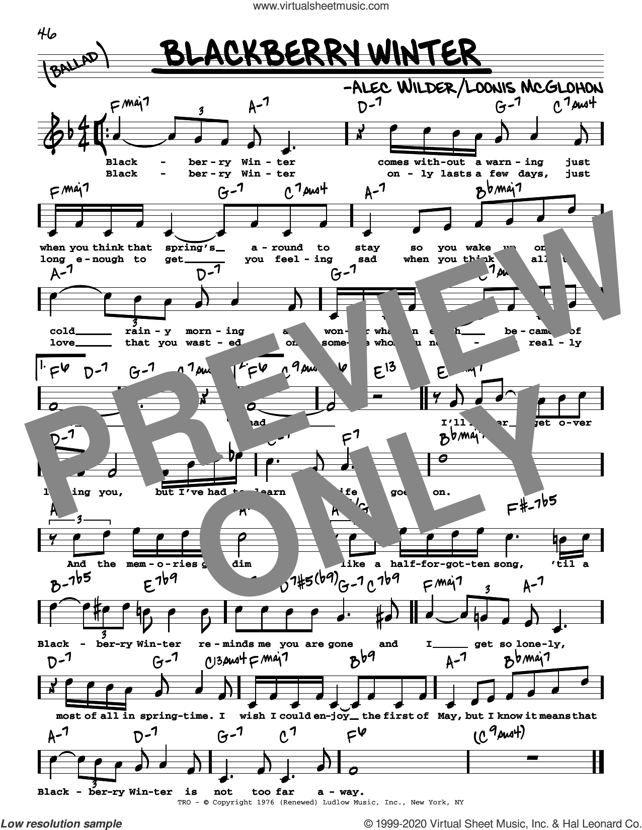 Blackberry Winter (High Voice) sheet music for voice and other instruments (real book with lyrics) by Alec Wilder and Loonis McGlohon, intermediate skill level
