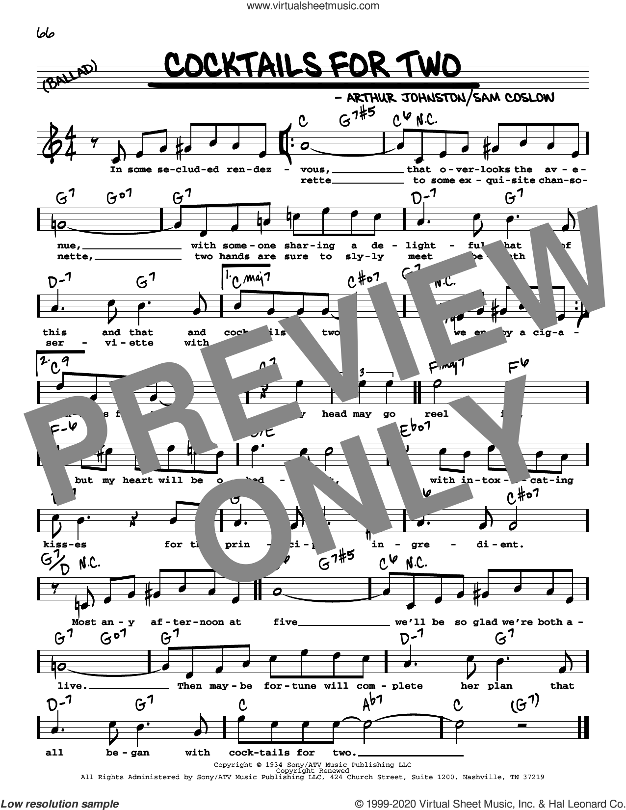 Cocktails For Two (High Voice) sheet music for voice and other instruments (real book with lyrics) by Arthur Johnston, Carl Brisson, Miriam Hopkins and Sam Coslow, intermediate skill level