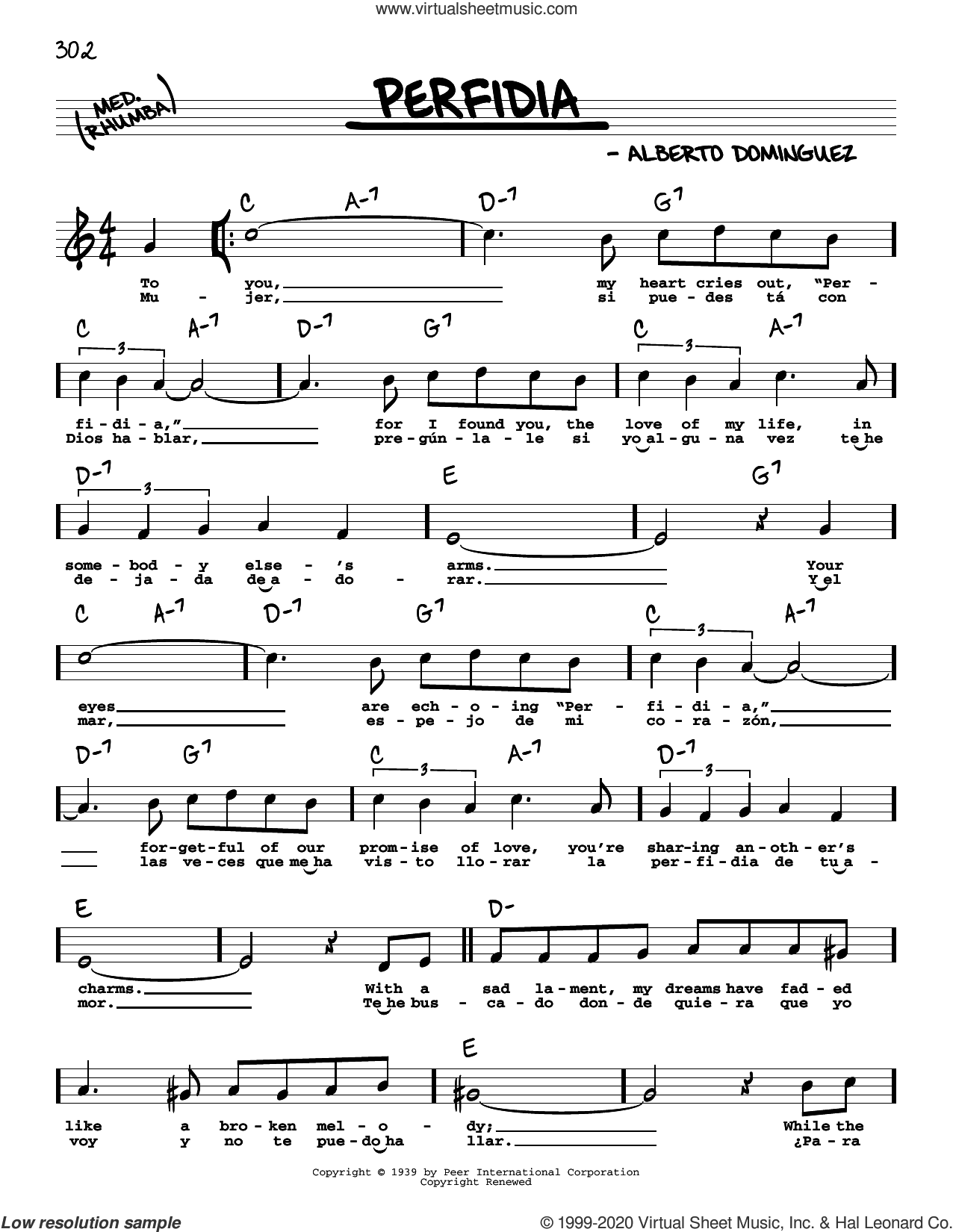 Perfidia (High Voice) sheet music for voice and other instruments (high voice) by The Ventures and Alberto Dominguez, intermediate skill level