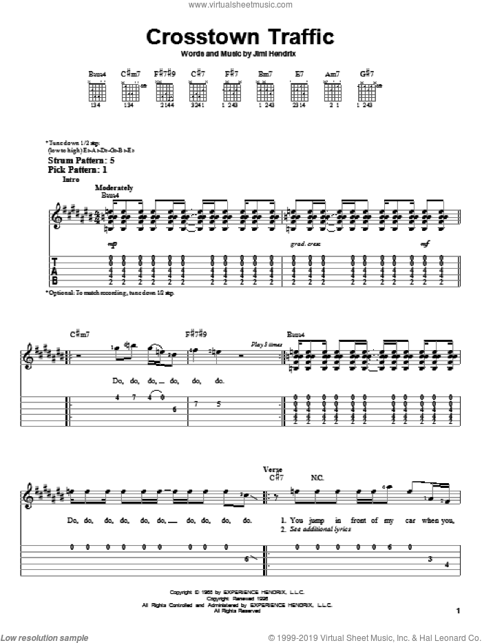 Crosstown Traffic sheet music for guitar solo (easy tablature) by Jimi Hendrix, easy guitar (easy tablature)