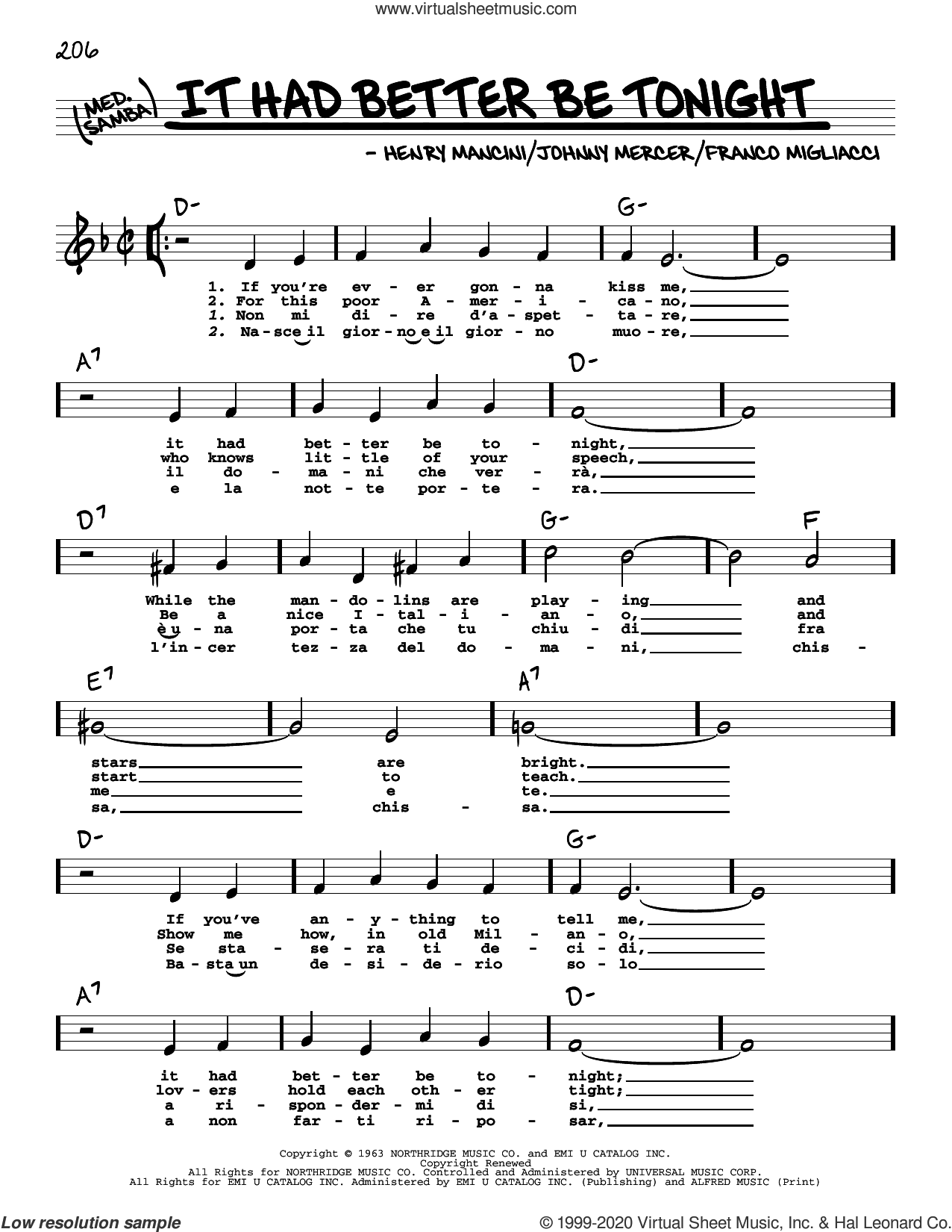 It Had Better Be Tonight (High Voice) sheet music for voice and other instruments (high voice) by Johnny Mercer, Franco Migliacci and Henry Mancini, intermediate skill level