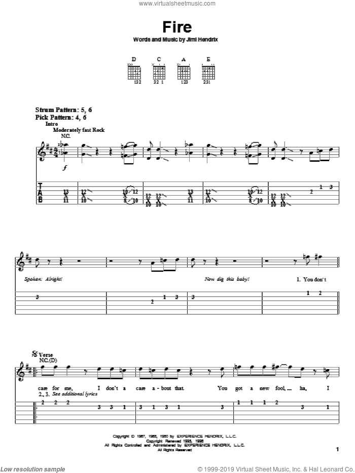 Fire sheet music for guitar solo (easy tablature) by Jimi Hendrix and Red Hot Chili Peppers, easy guitar (easy tablature)