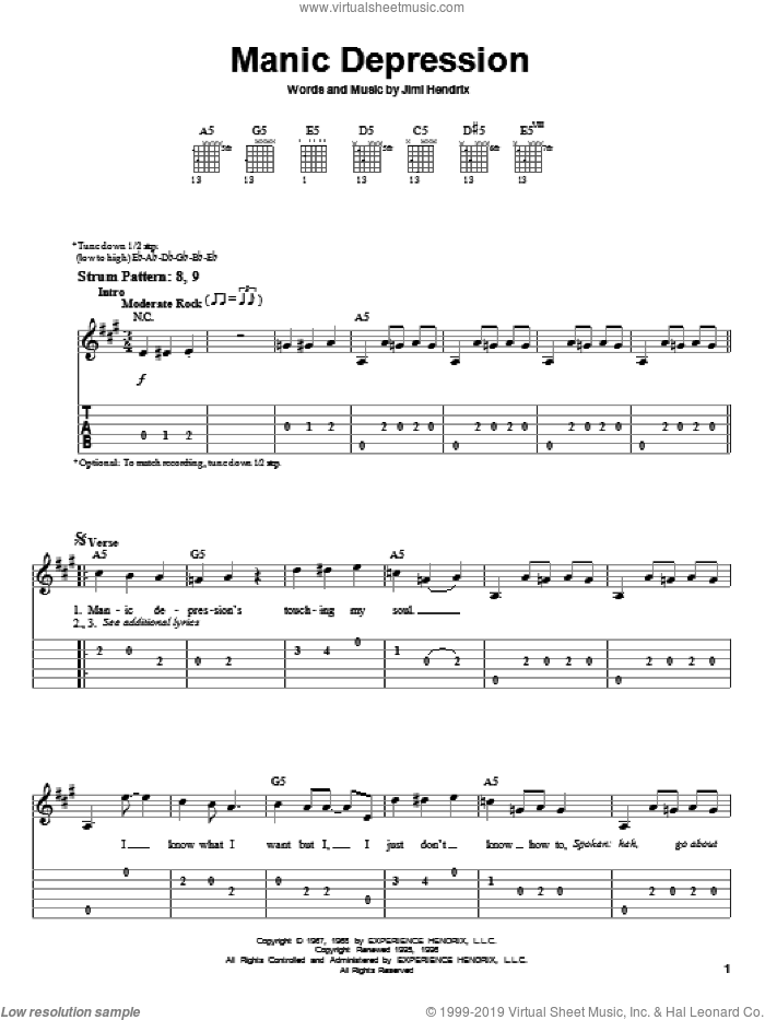 Manic Depression sheet music for guitar solo (easy tablature) by Jimi Hendrix, easy guitar (easy tablature). Score Image Preview.