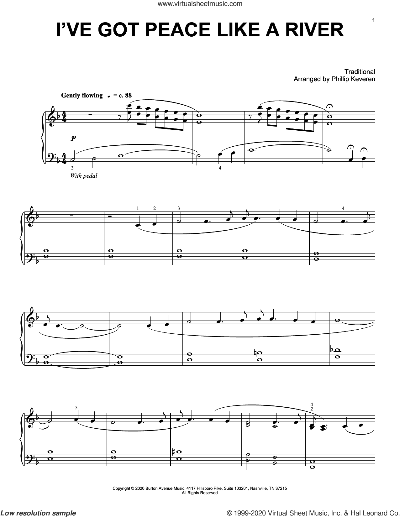 I've Got Peace Like A River (arr. Phillip Keveren) sheet music for piano solo  and Phillip Keveren, intermediate skill level