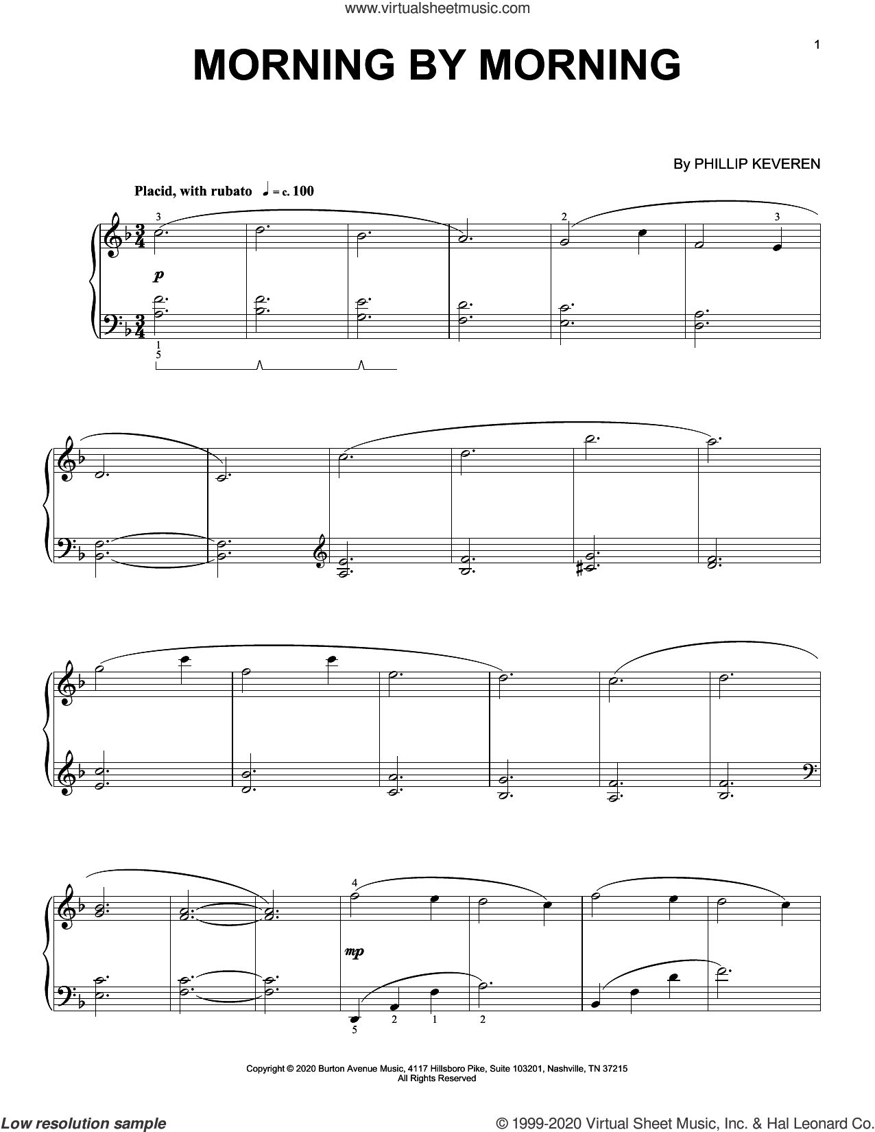 Morning By Morning sheet music for piano solo by Phillip Keveren, intermediate skill level