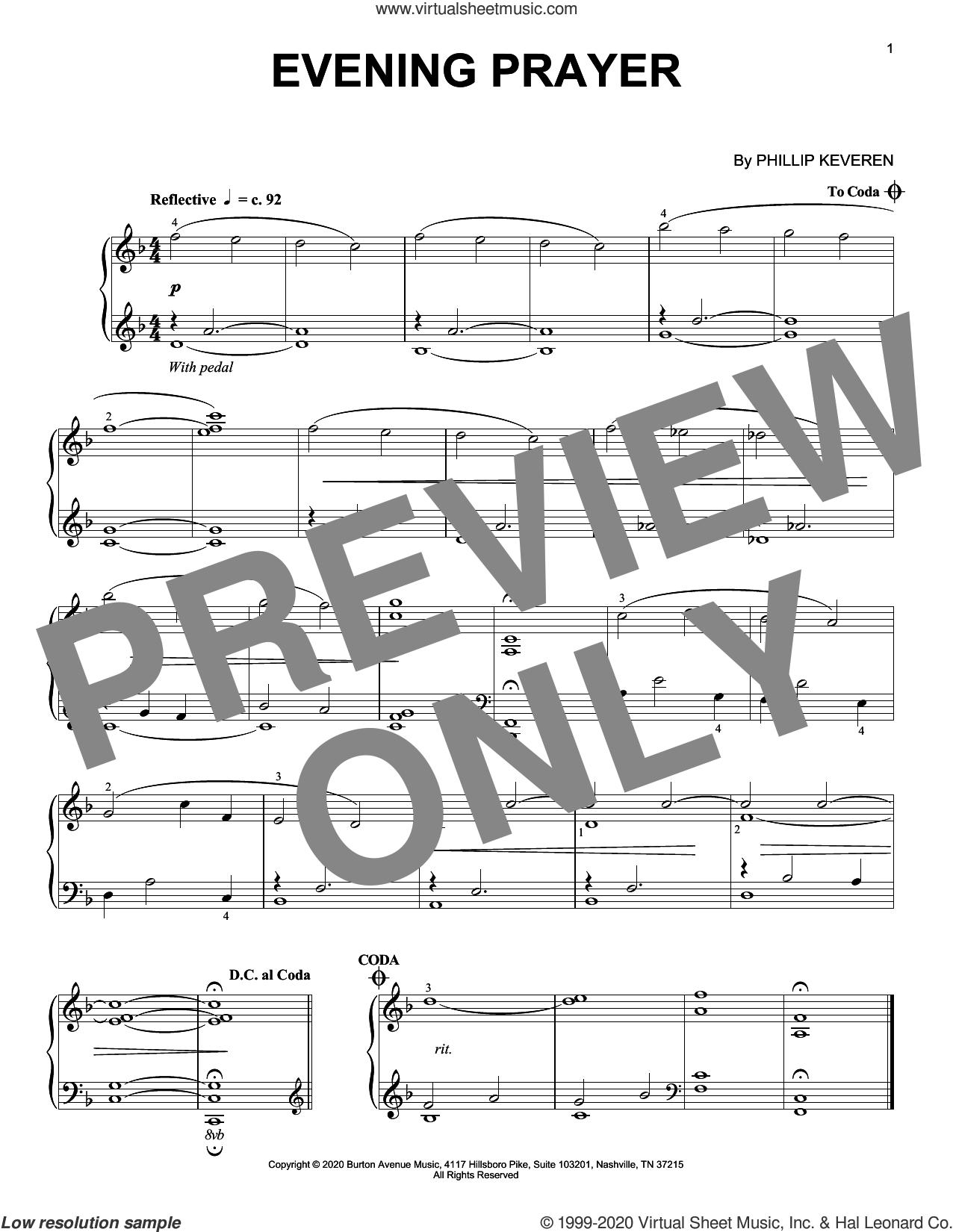 Evening Prayer sheet music for piano solo by Phillip Keveren, intermediate skill level